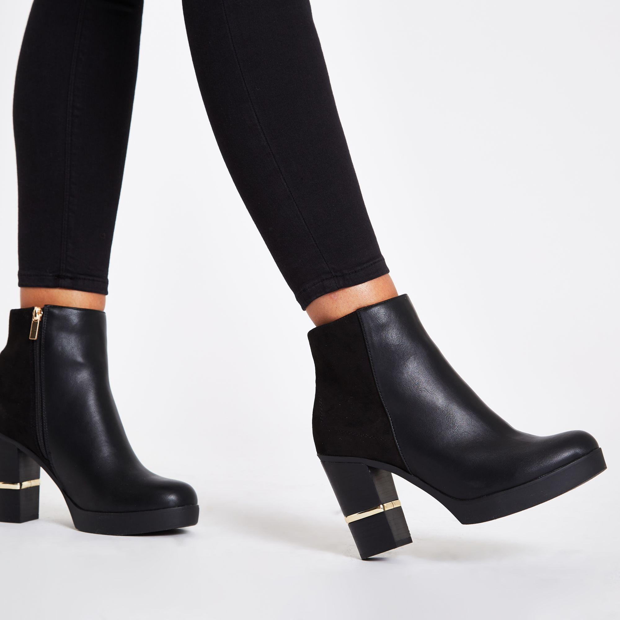 Faux Leather Block Heel Ankle Boots