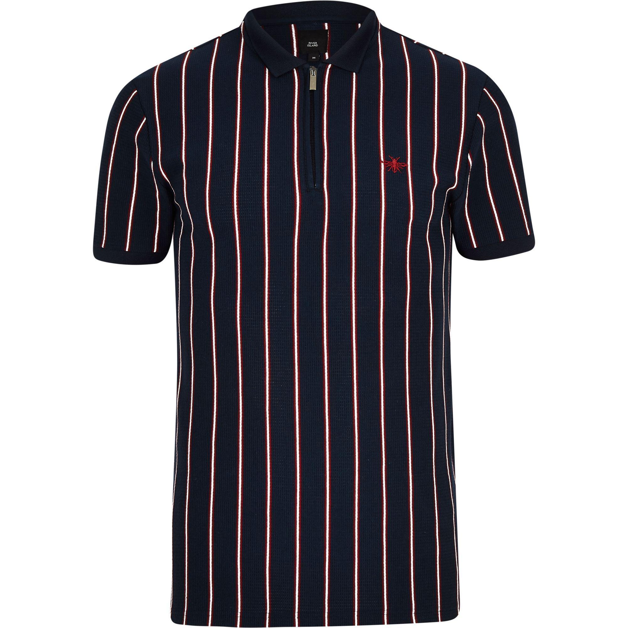 d62015e2 Lyst - River Island Stripe Zip Slim Fit Polo Shirt in Blue for Men