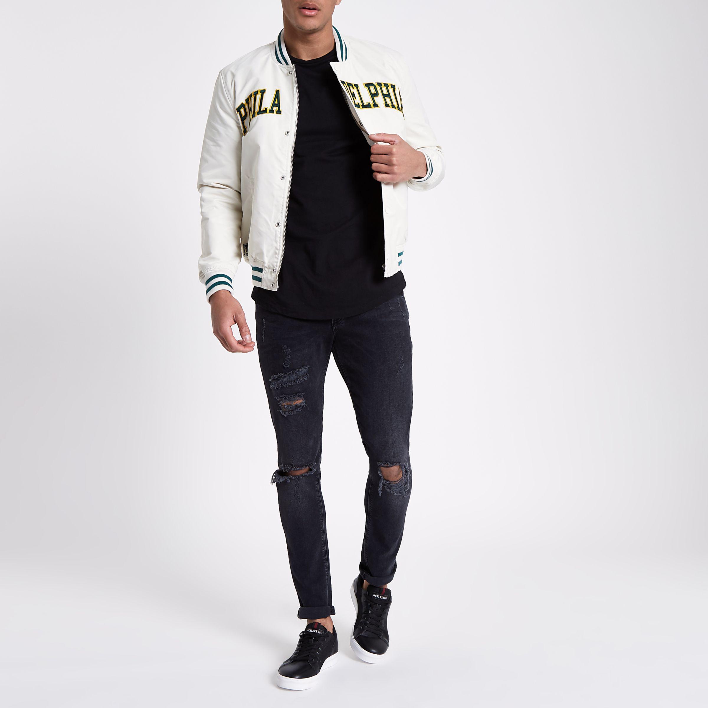 River Island Synthetic White Schott Varsity Bomber Jacket for Men