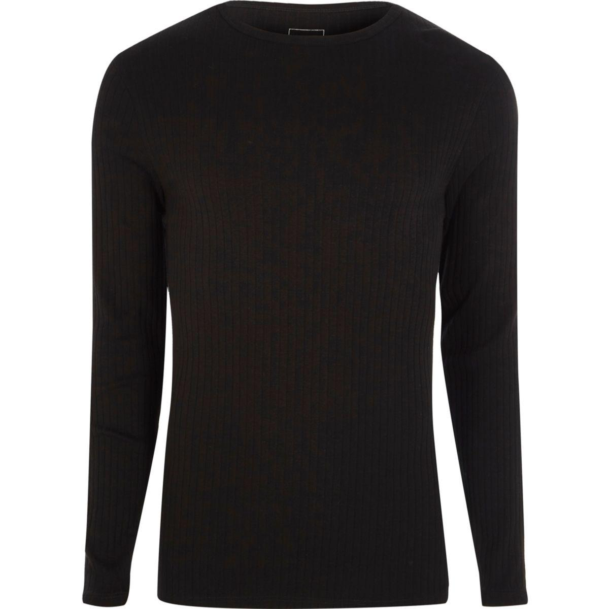 Lyst river island black ribbed slim fit long sleeve t for Black fitted long sleeve t shirts