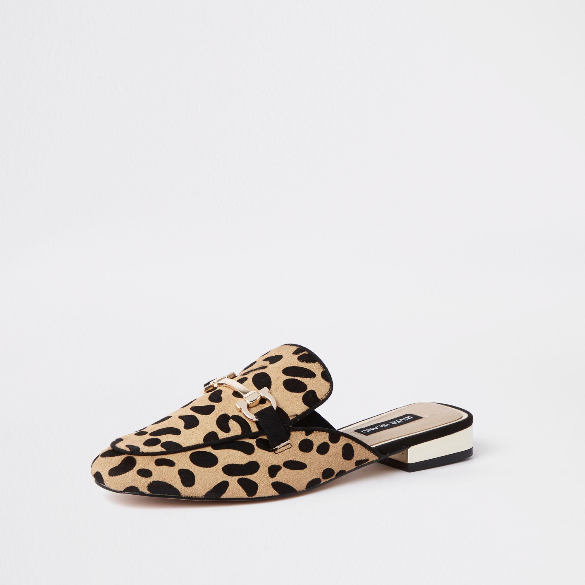9963fc6dbfa River Island - Brown Leopard Snaffle Backless Loafers - Lyst. View  fullscreen