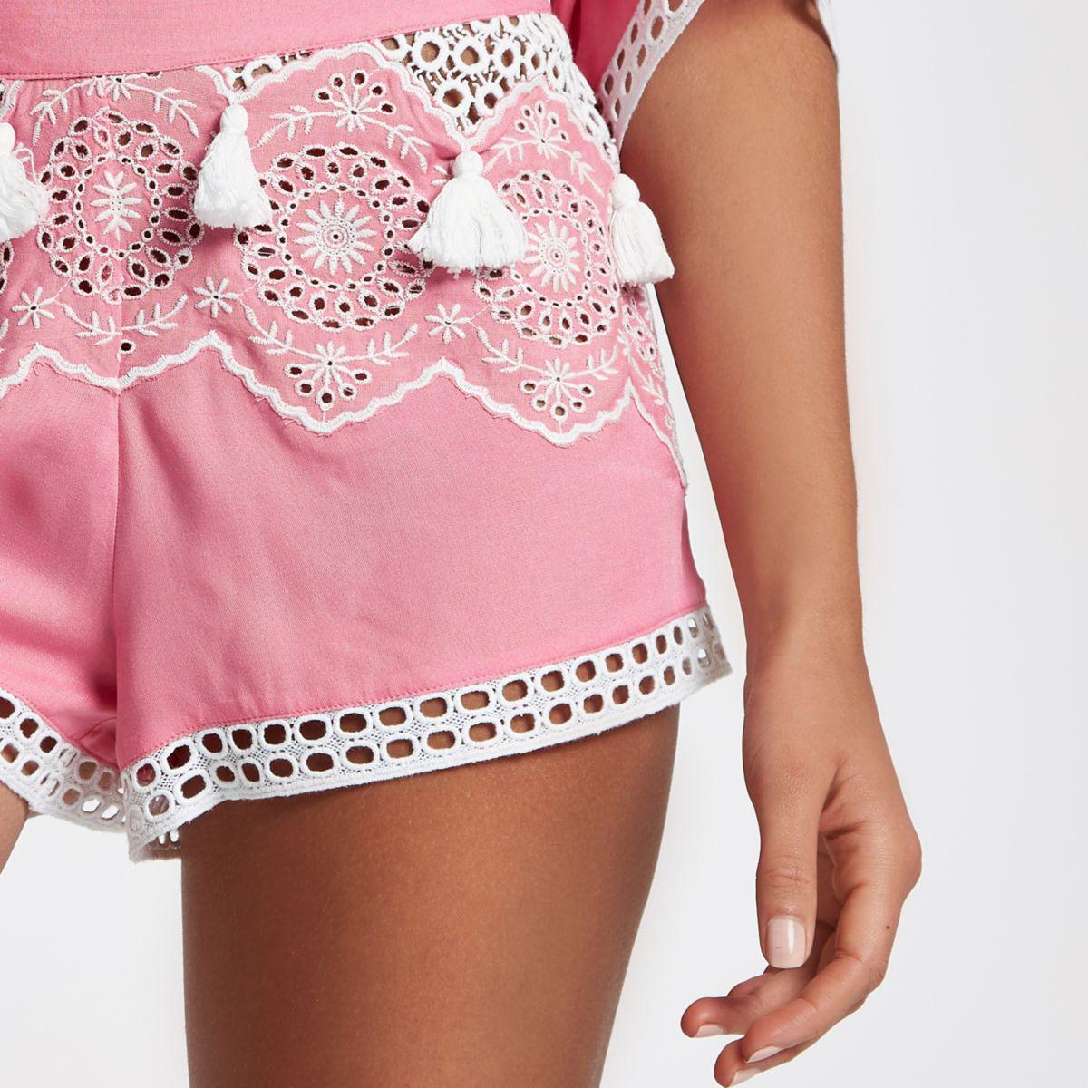 Womens Pink broderie tassel trim beach shorts River Island 04zoMLx