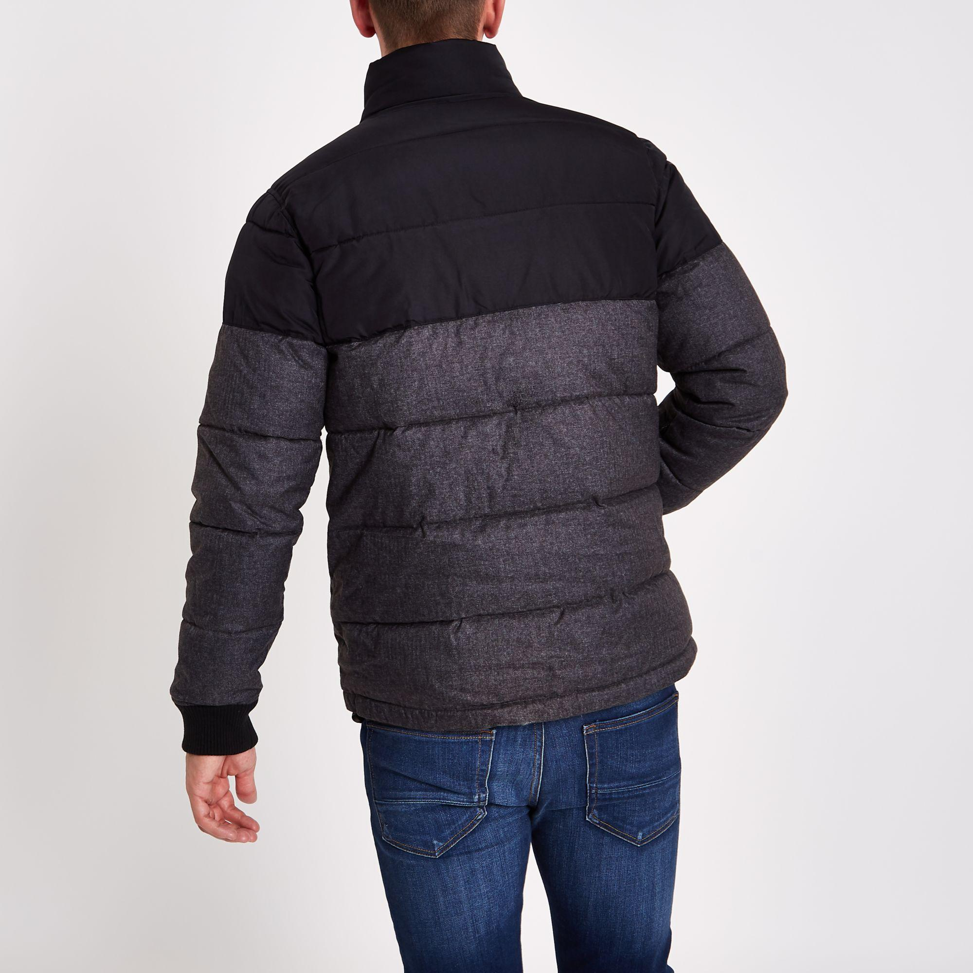 River Island Synthetic And Grey Colour Block Puffer Jacket in Black for Men