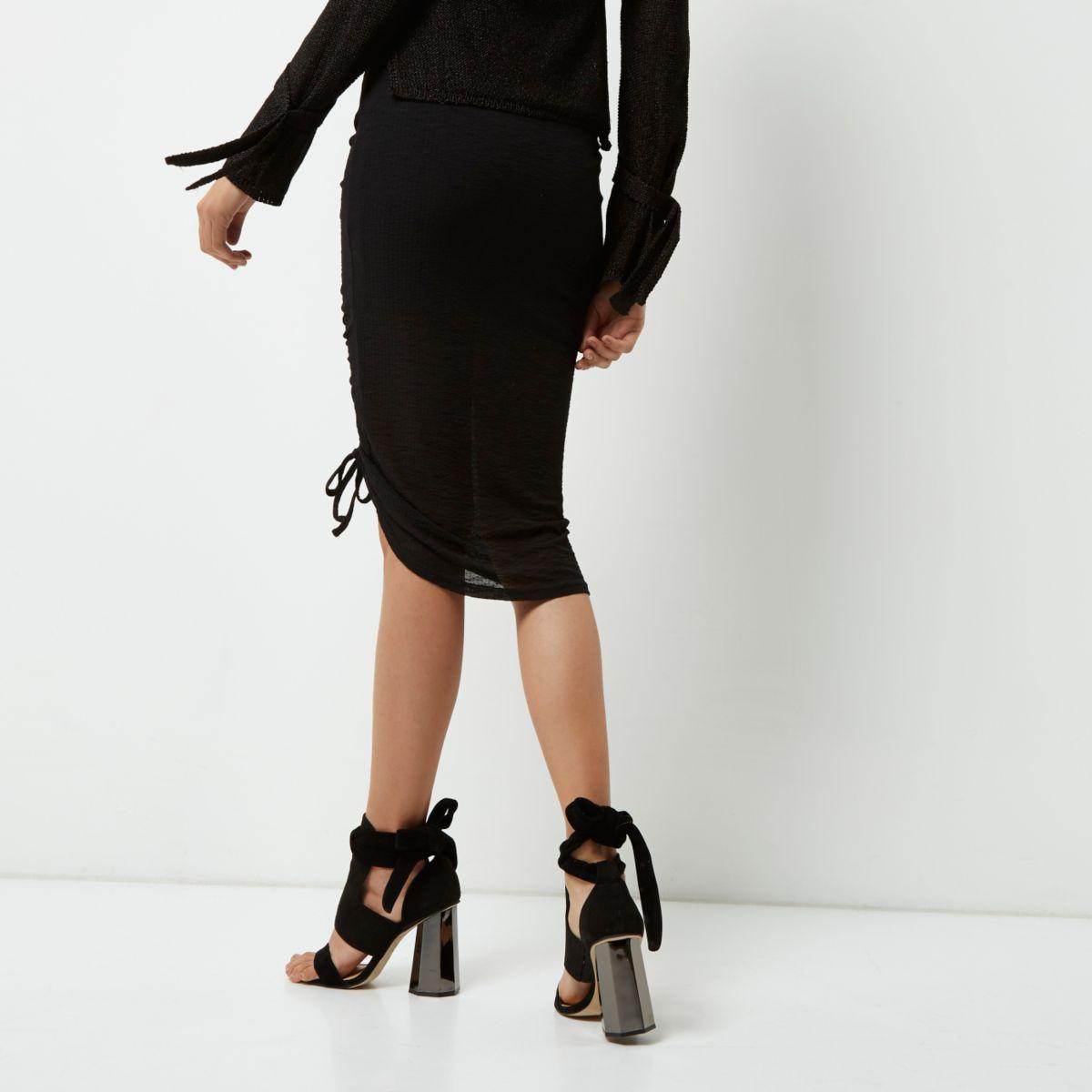 River Island Black Zipped Mini Skirt
