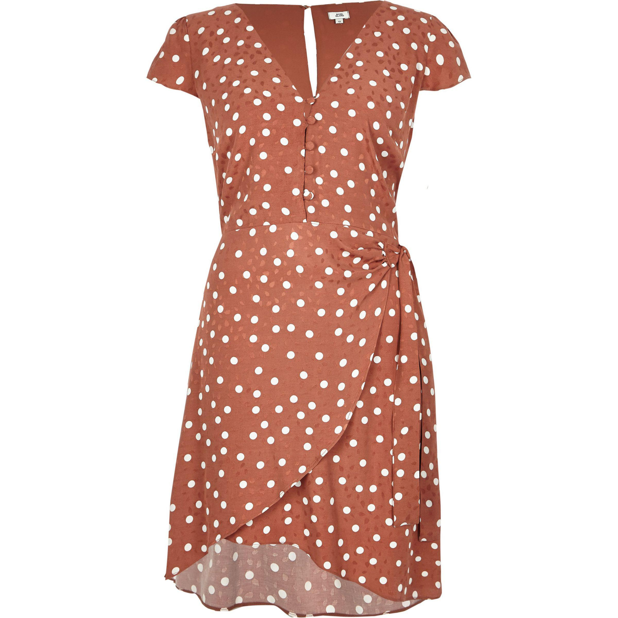 338f3f33ce Lyst - River Island Polka Dot Cap Sleeve Wrap Dress in Brown