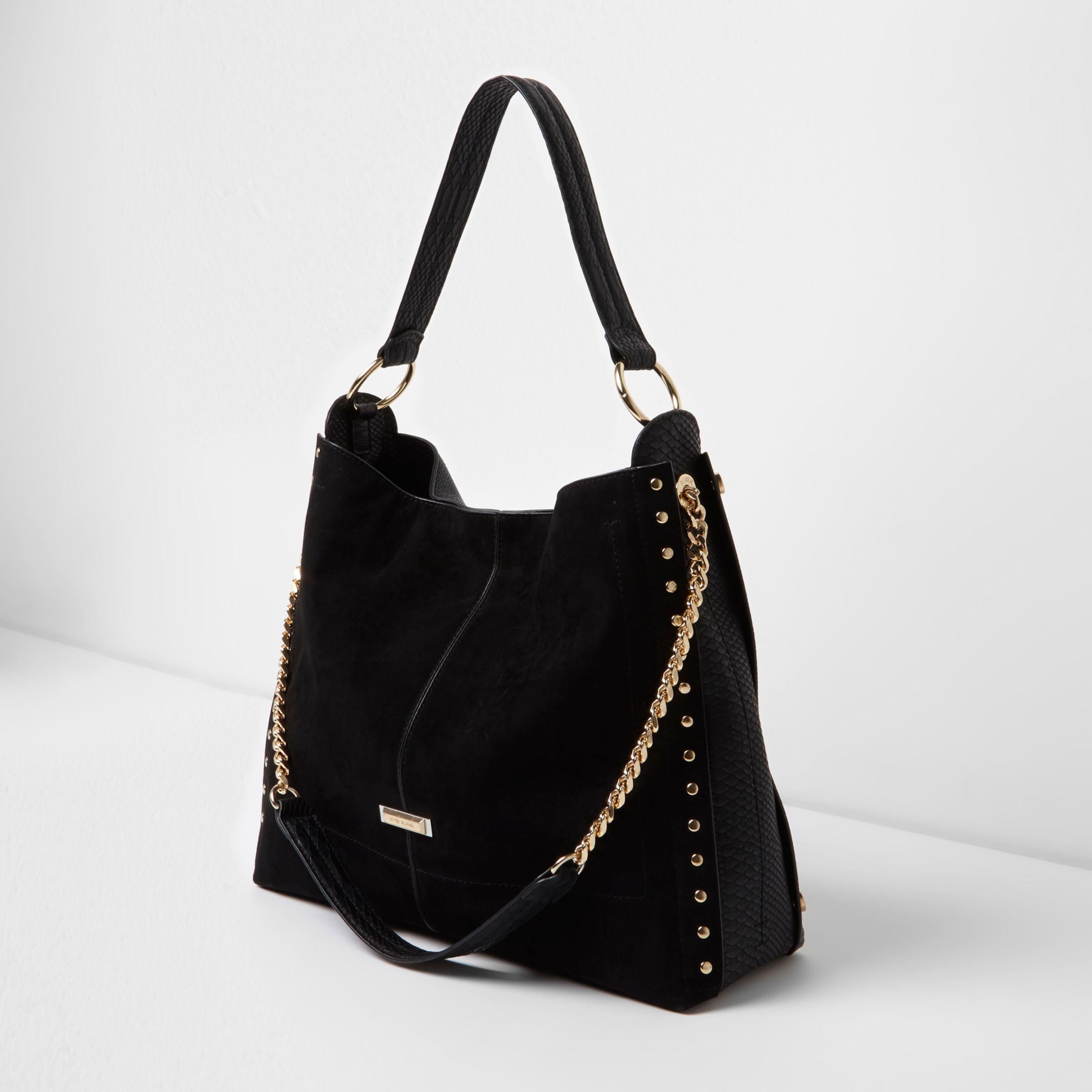 02d6a852051 River Island Black Studded Oversized Slouch Chain Bag in Black - Lyst