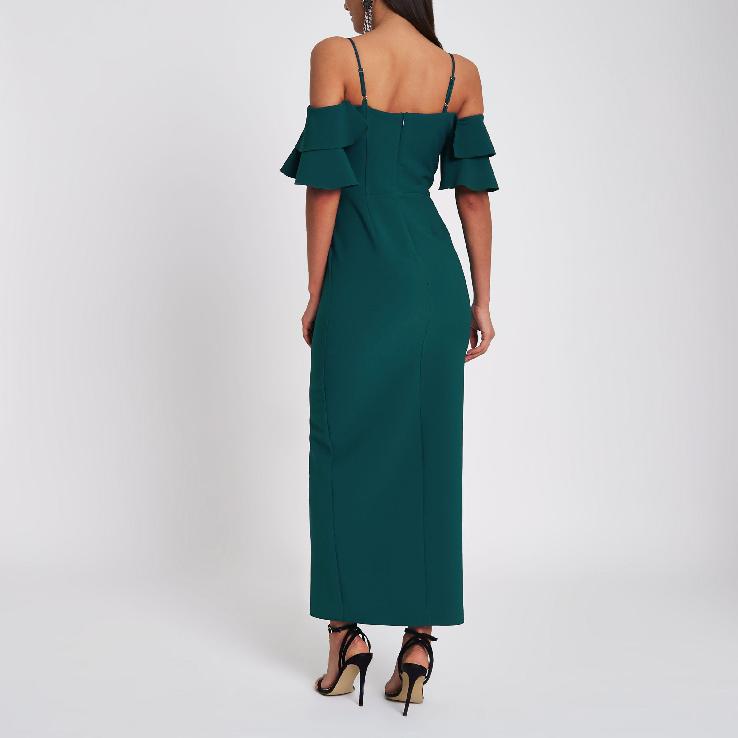 River Island Synthetic Dark Green Frill Bardot Maxi