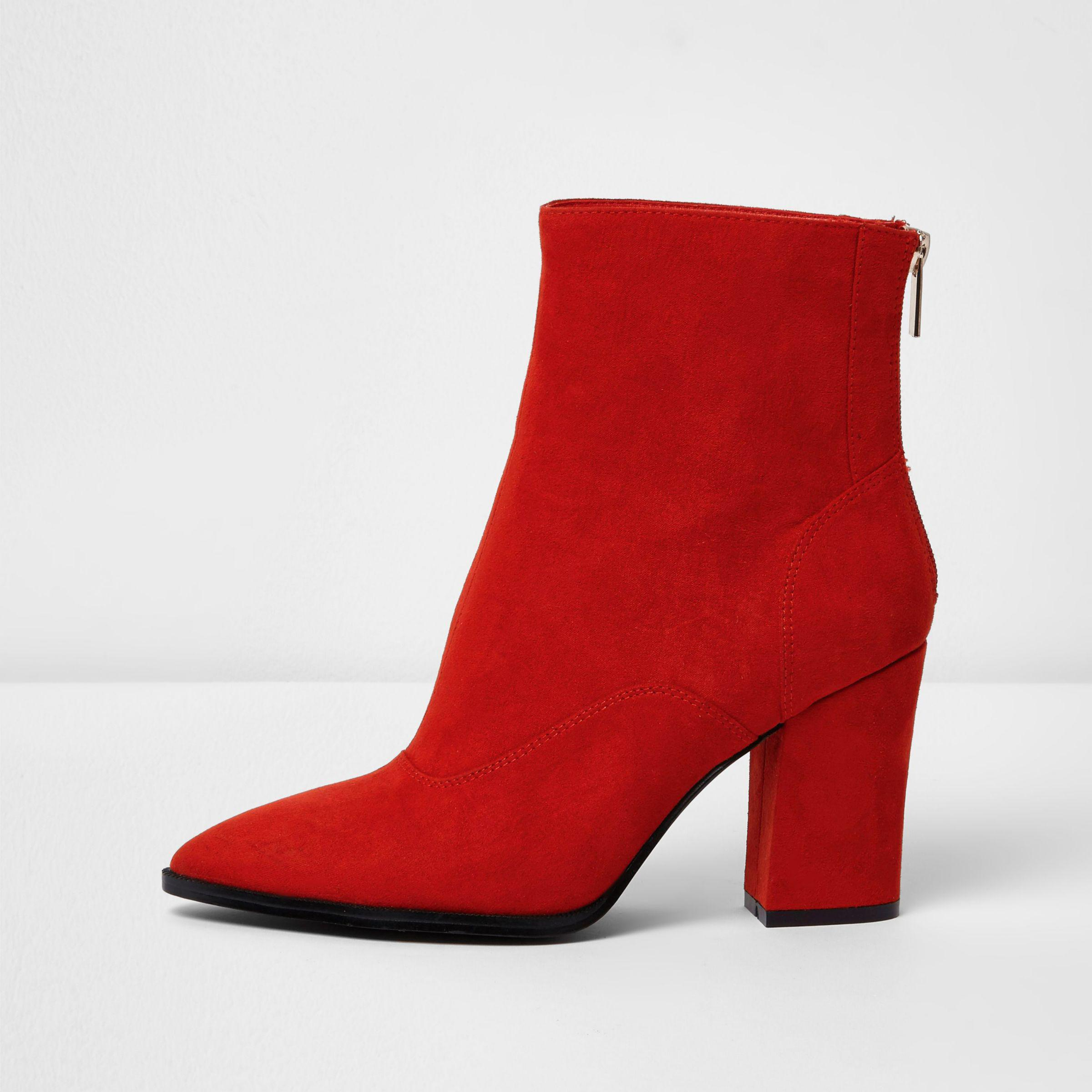 0b3abb81515e River Island Red Block Heel Pointed Boots in Red - Lyst