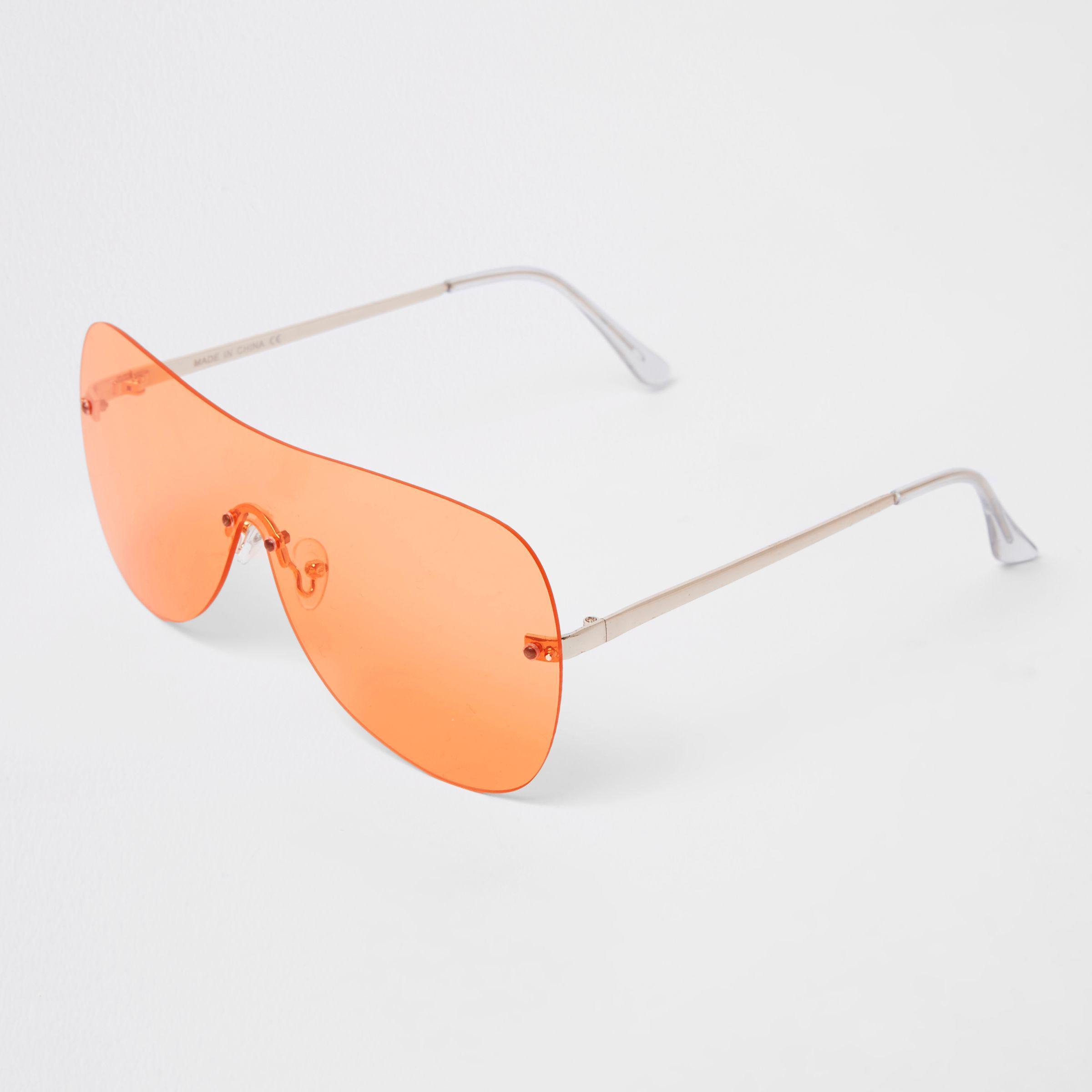 8f4ffb739d0b Lyst - River Island Orange Tone Visor Aviator Sunglasses in Orange ...