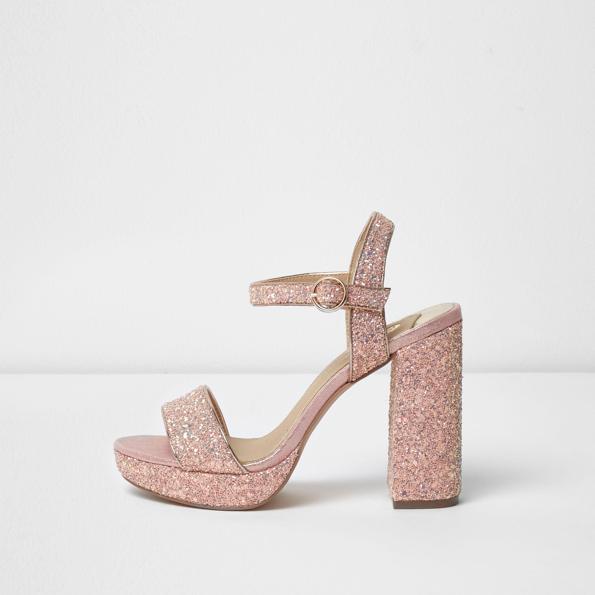 6d19057b9fd Lyst - River Island Pink Glitter Platform Block Heel Sandals in Pink