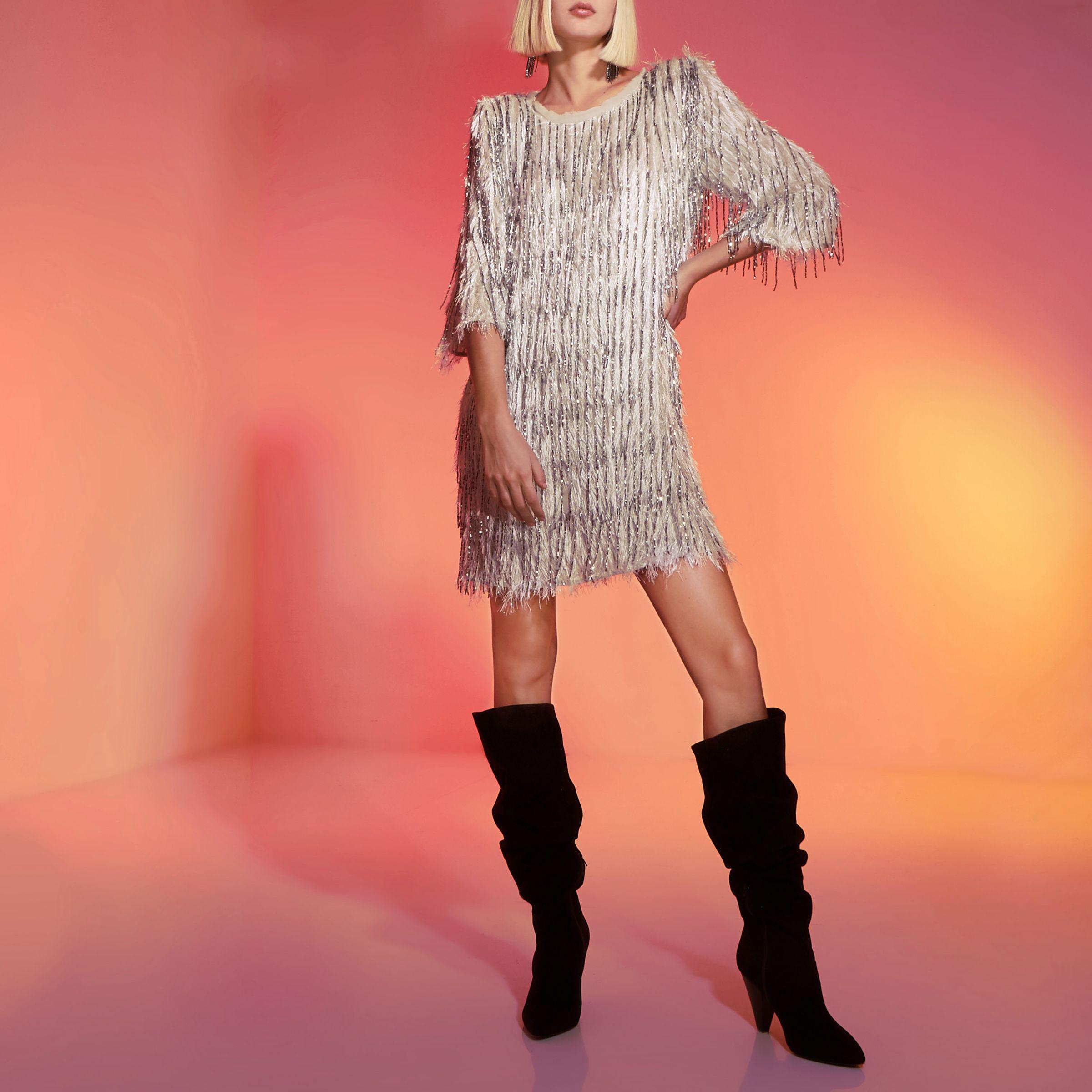 986ece111a River Island Light Grey Ri Studio Embellished Shift Dress in Gray - Lyst