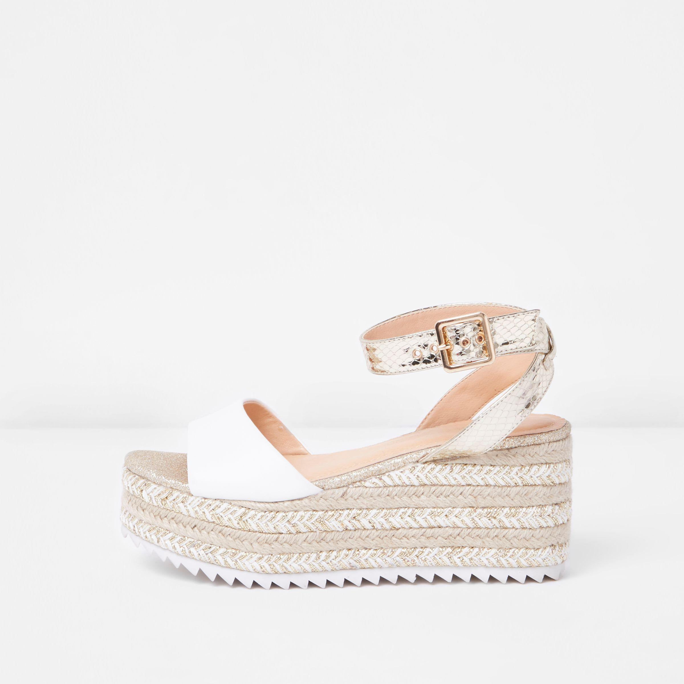 85abcfa174bf River Island Gold Two Part Espadrille Wedge Sandals in Metallic - Lyst