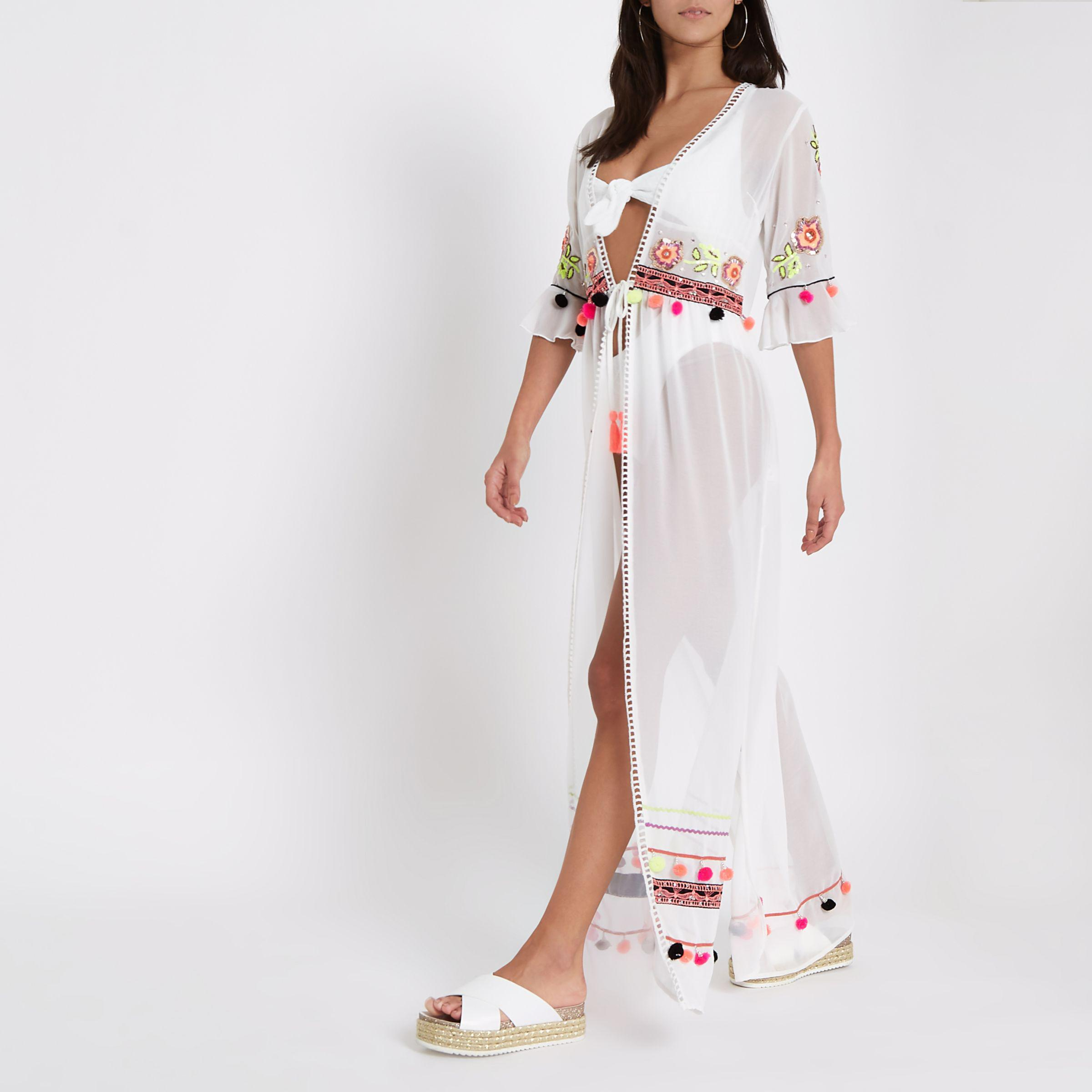 b6e372dc77 River Island White Embellished Maxi Beach Cover Up in White - Lyst