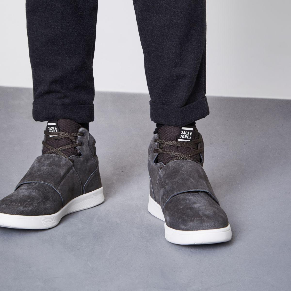River Island Grey Jack & Jones Suede Velcro Tab Trainers Grey Jack & Jones Suede Velcro Tab Trainers in Grey for Men