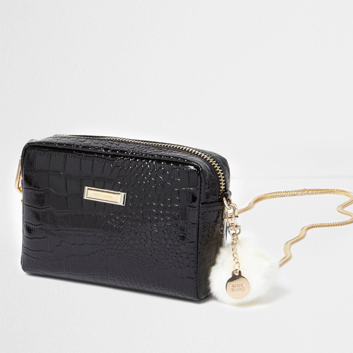 River Island Black Patent Croc Cross Body Chain Bag