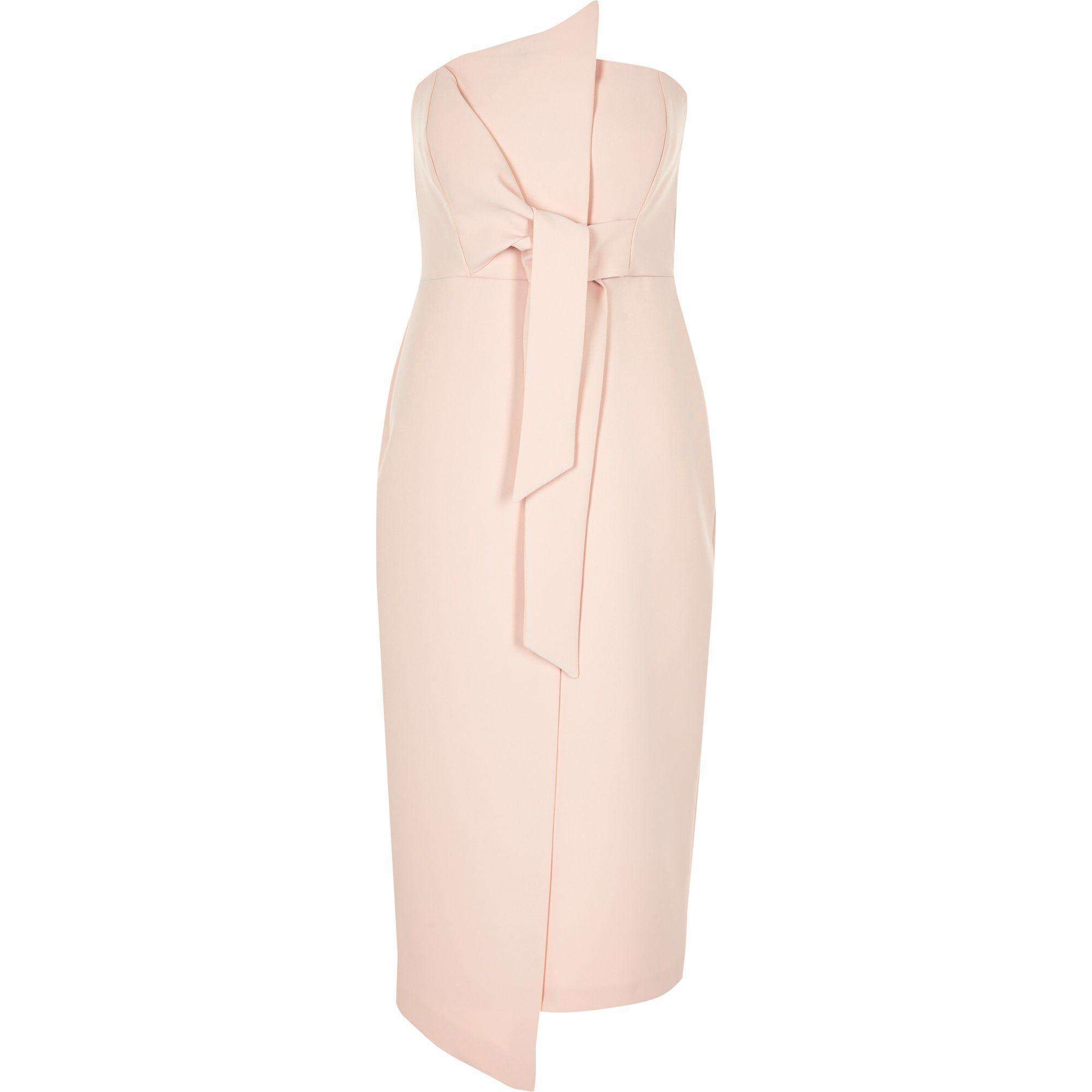 34954f2f0a4e7 River Island Petite Light Pink Bandeau Bodycon Midi Dress in Pink - Lyst