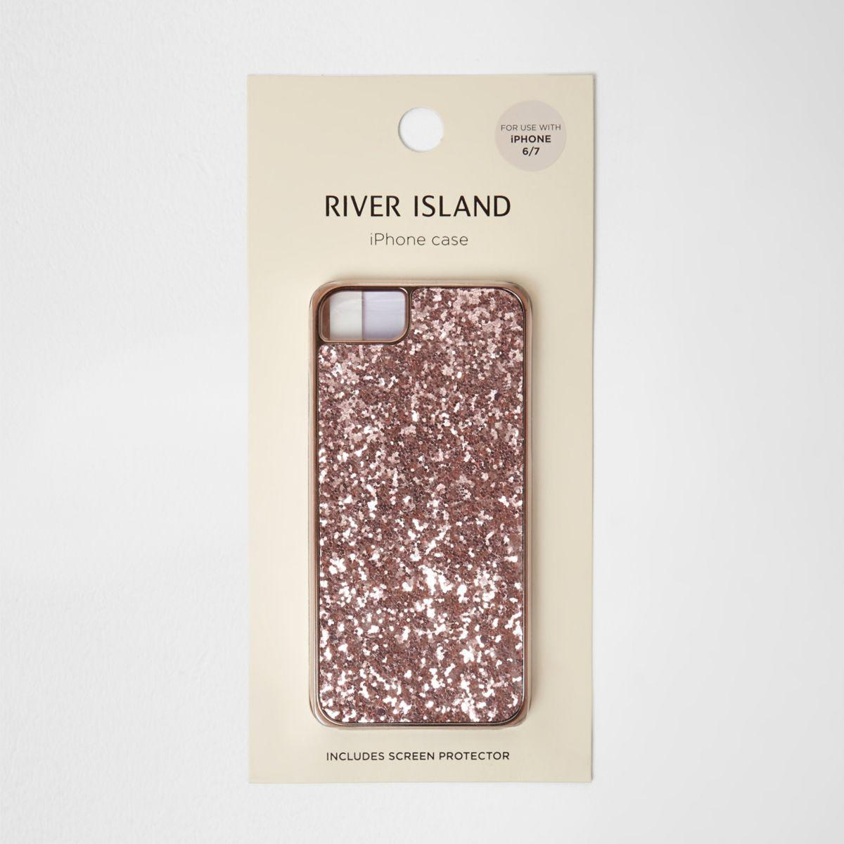 River Island Rose Gold Tone Glitter Phone Case Rose Gold