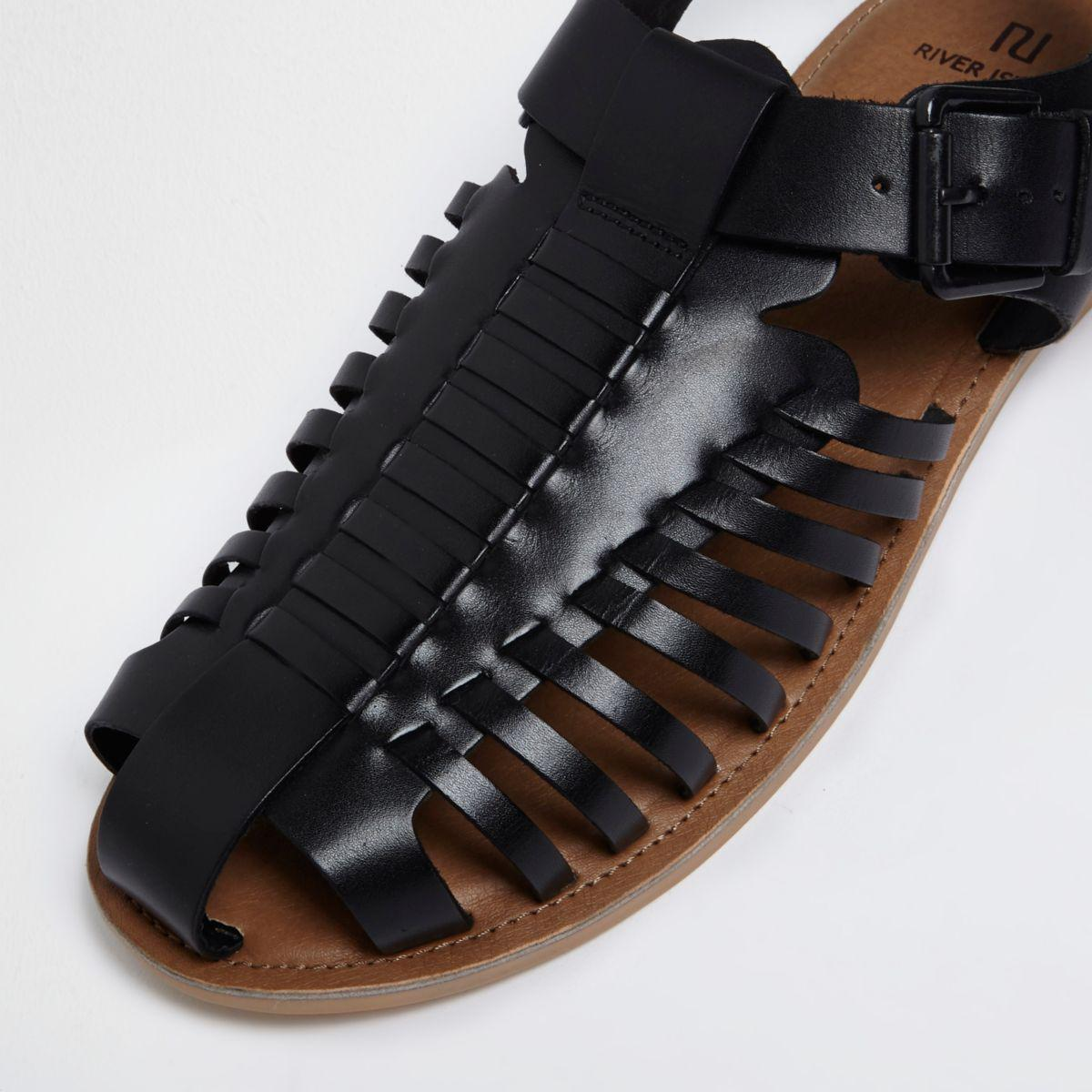 River Island Black Leather Fisherman Sandals In Black For