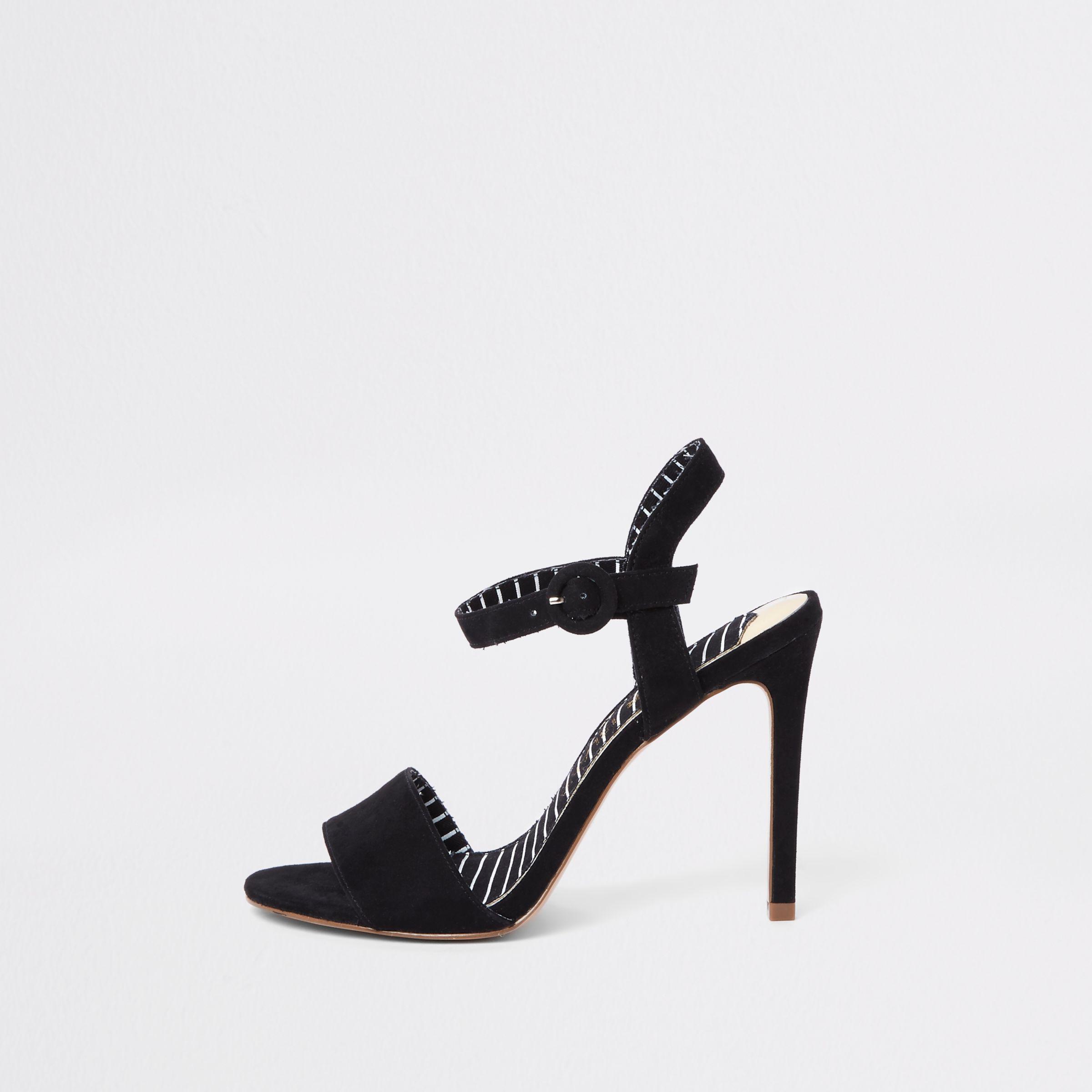 ec8db2fb42 River Island Black Wide Fit Two Part Stiletto Heel Sandals in Black ...