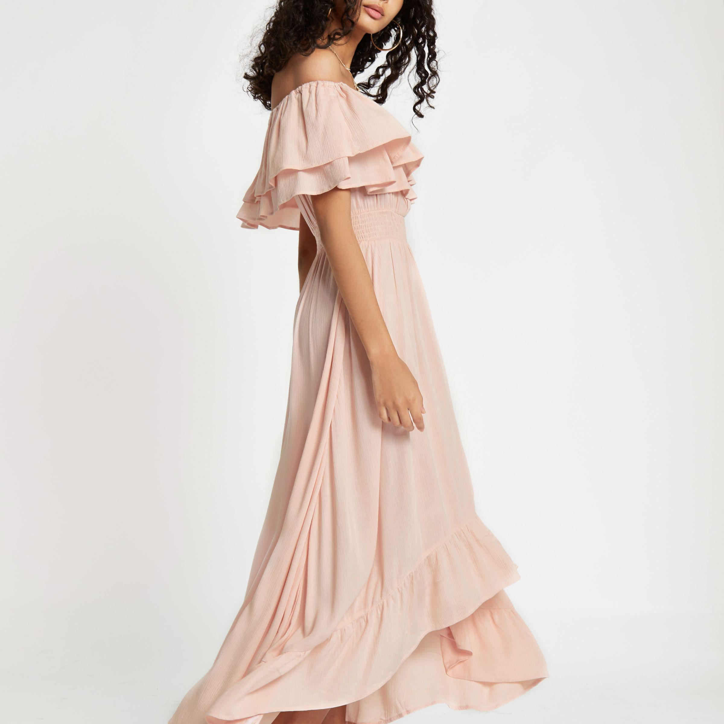 shoes for cheap uk store best selling River Island Synthetic Light Pink Frill Bardot Maxi Dress - Lyst