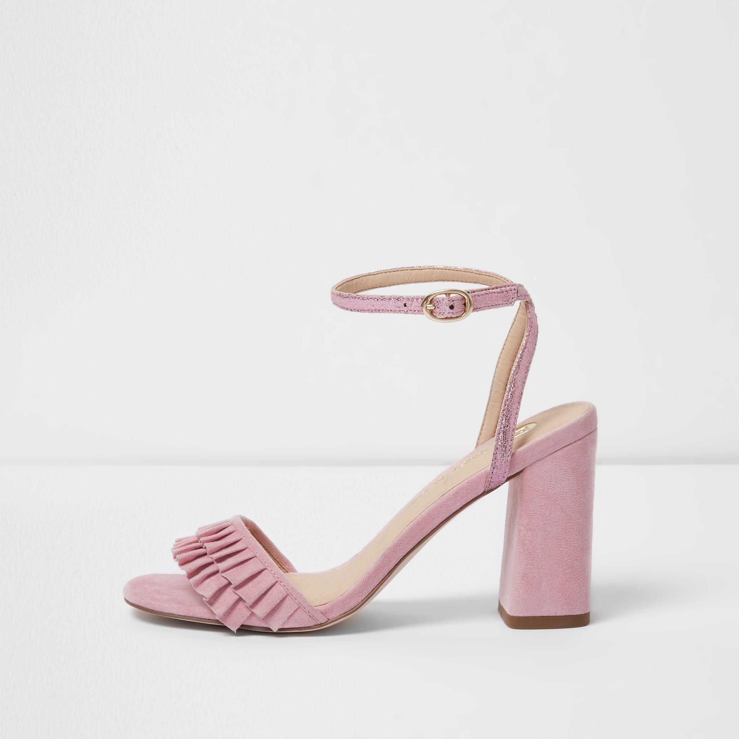 acbe3b4336a Women's Pink Frill Strap Block Heel Sandals