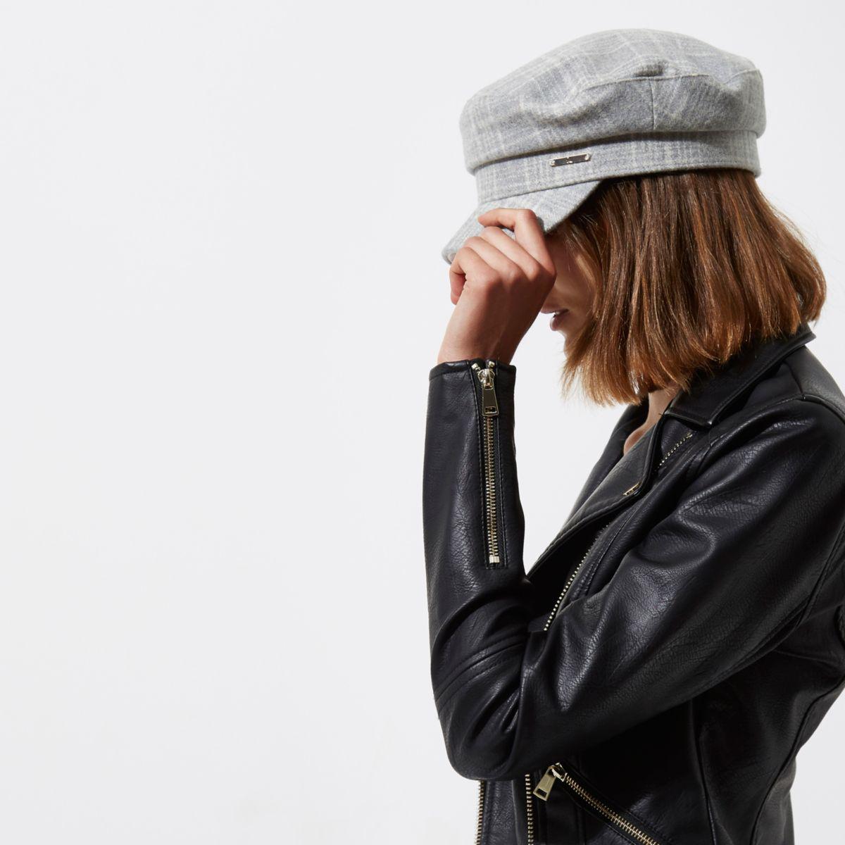 782869da River Island Grey Herringbone Check Baker Boy Hat in Gray - Lyst