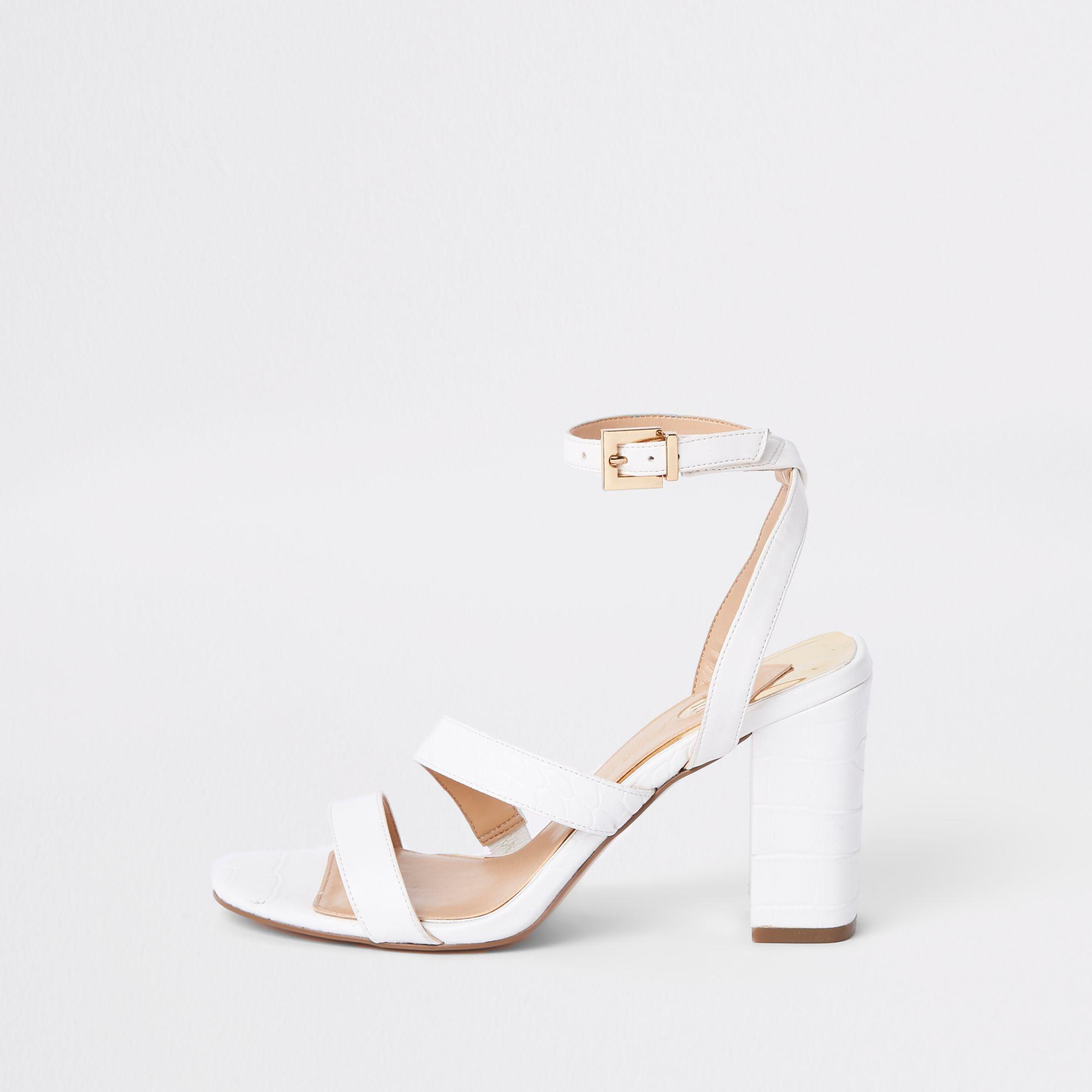 Asymmetric Strappy Block Heel Sandals