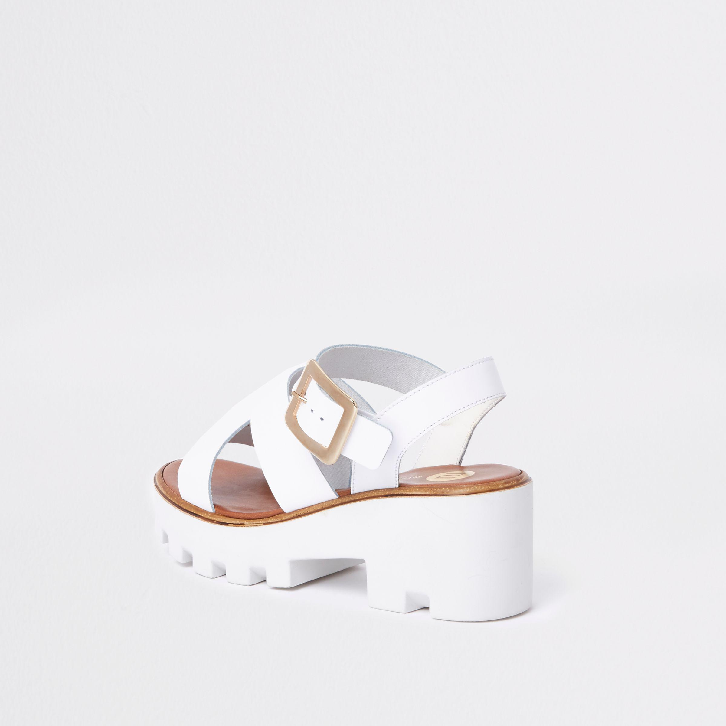 River Island White Chunky Sandals - Lyst
