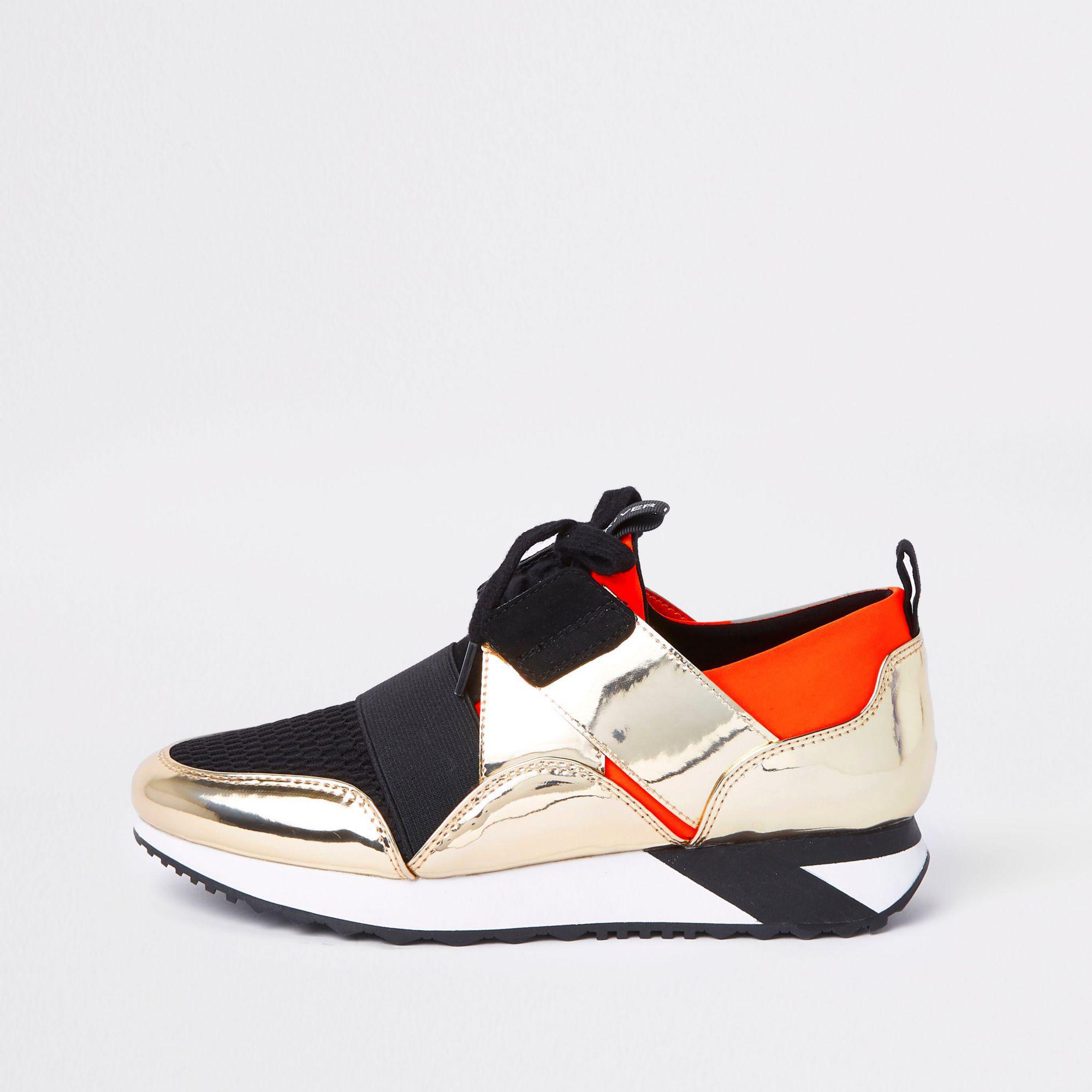 hot sales 190c1 cfae3 river-island-Orange-Elastic-Lace-up-Runner-Sneakers.jpeg