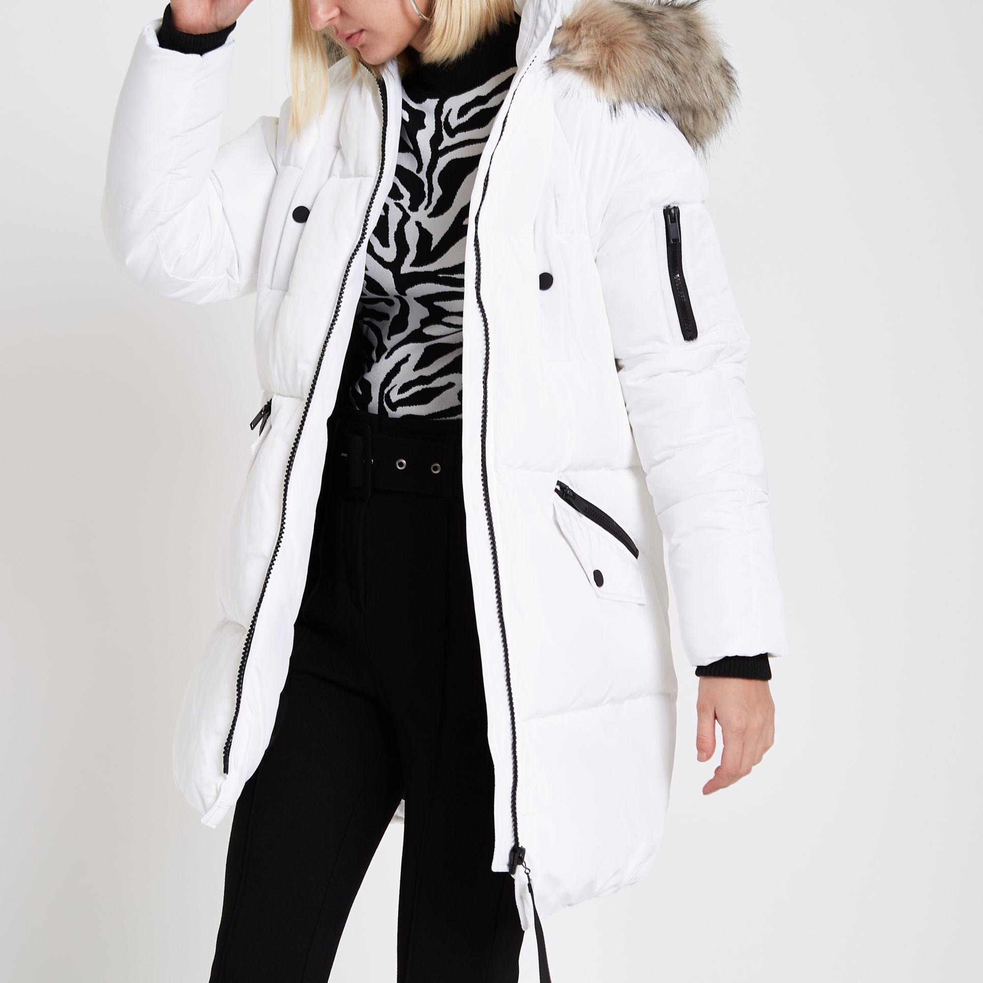 363e4fe2364 River Island White Faux Fur Trim Longline Puffer Jacket
