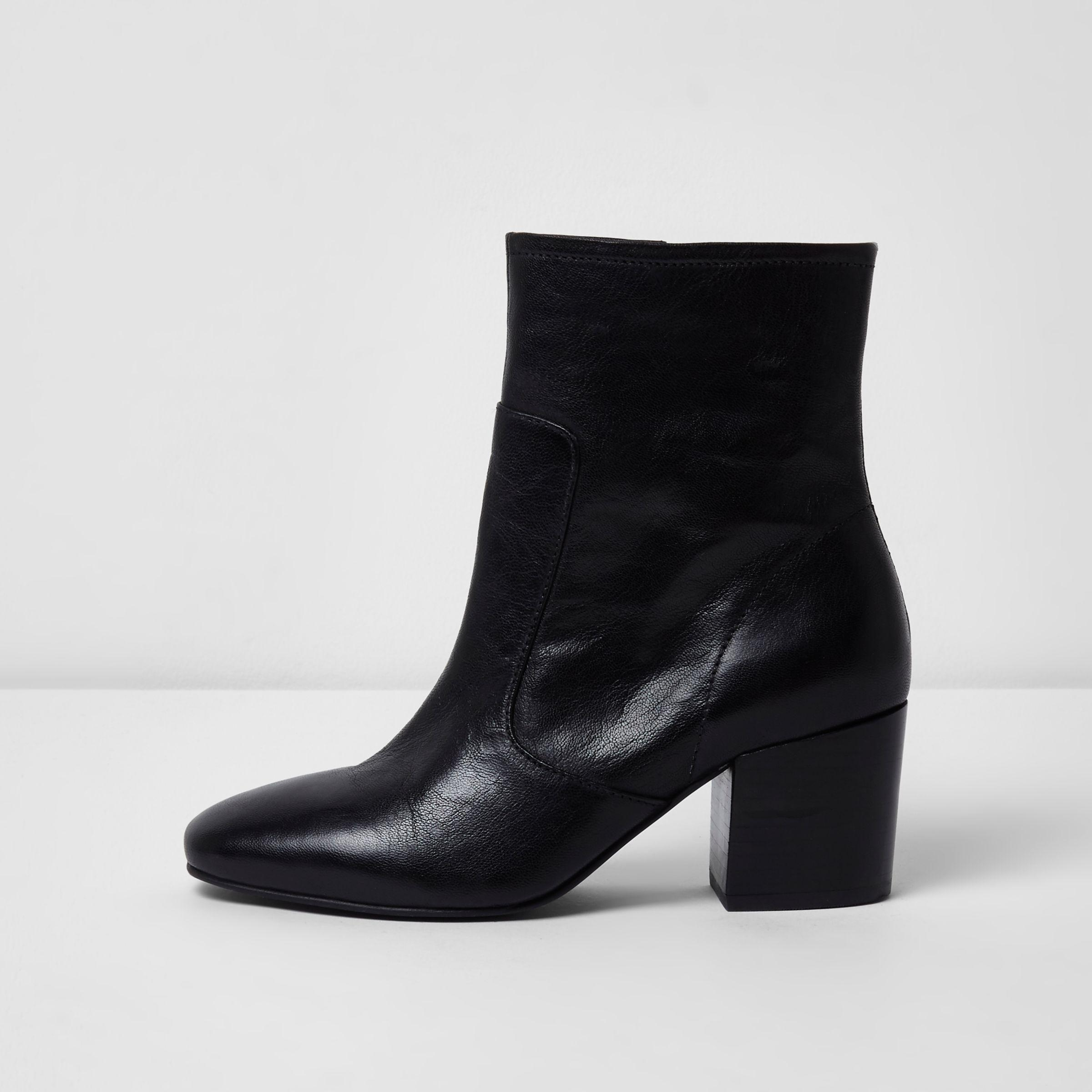 River Island Black Wide Fit Leather