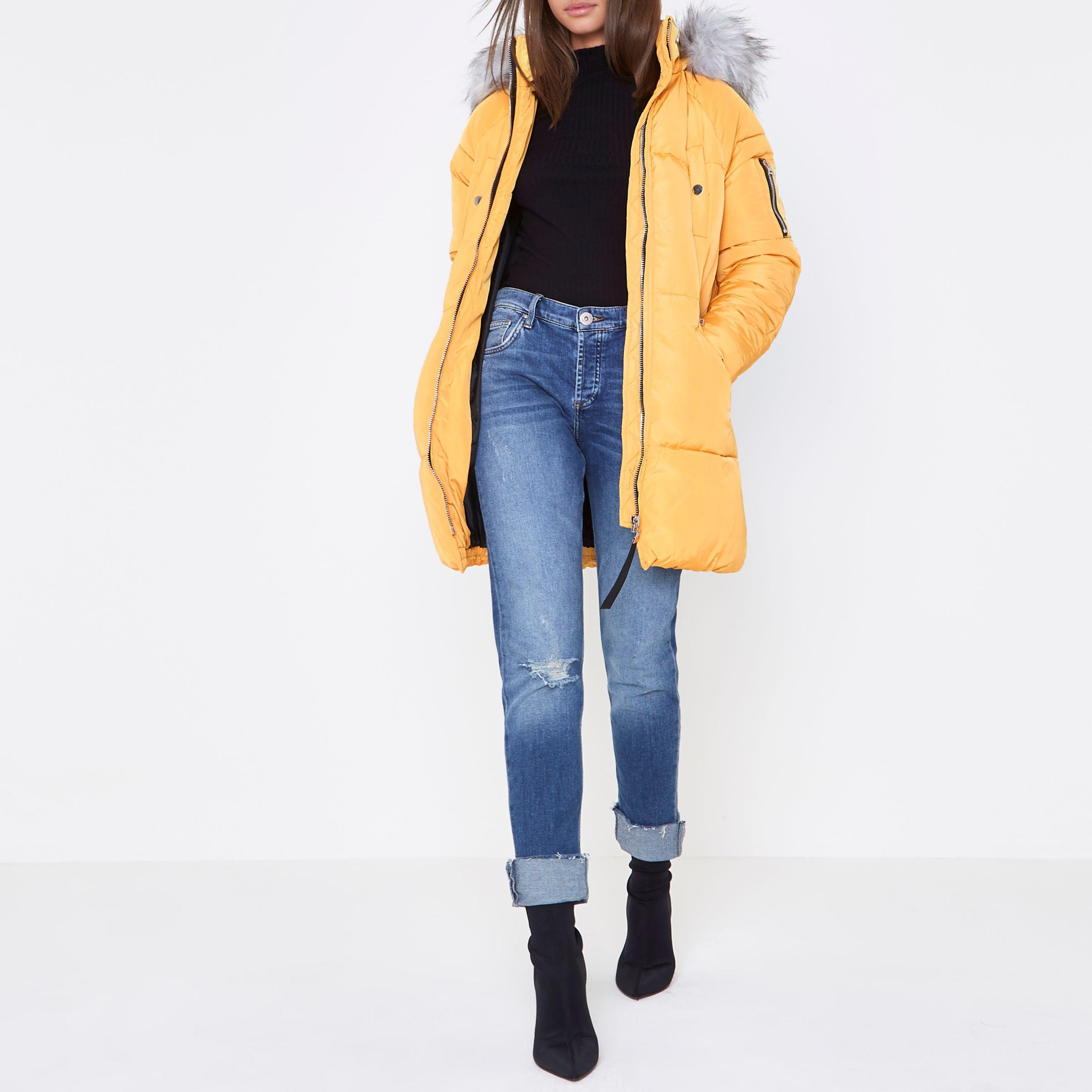 2cae5355995 River Island Yellow Longline Faux Fur Trim Puffer Jacket in Yellow ...