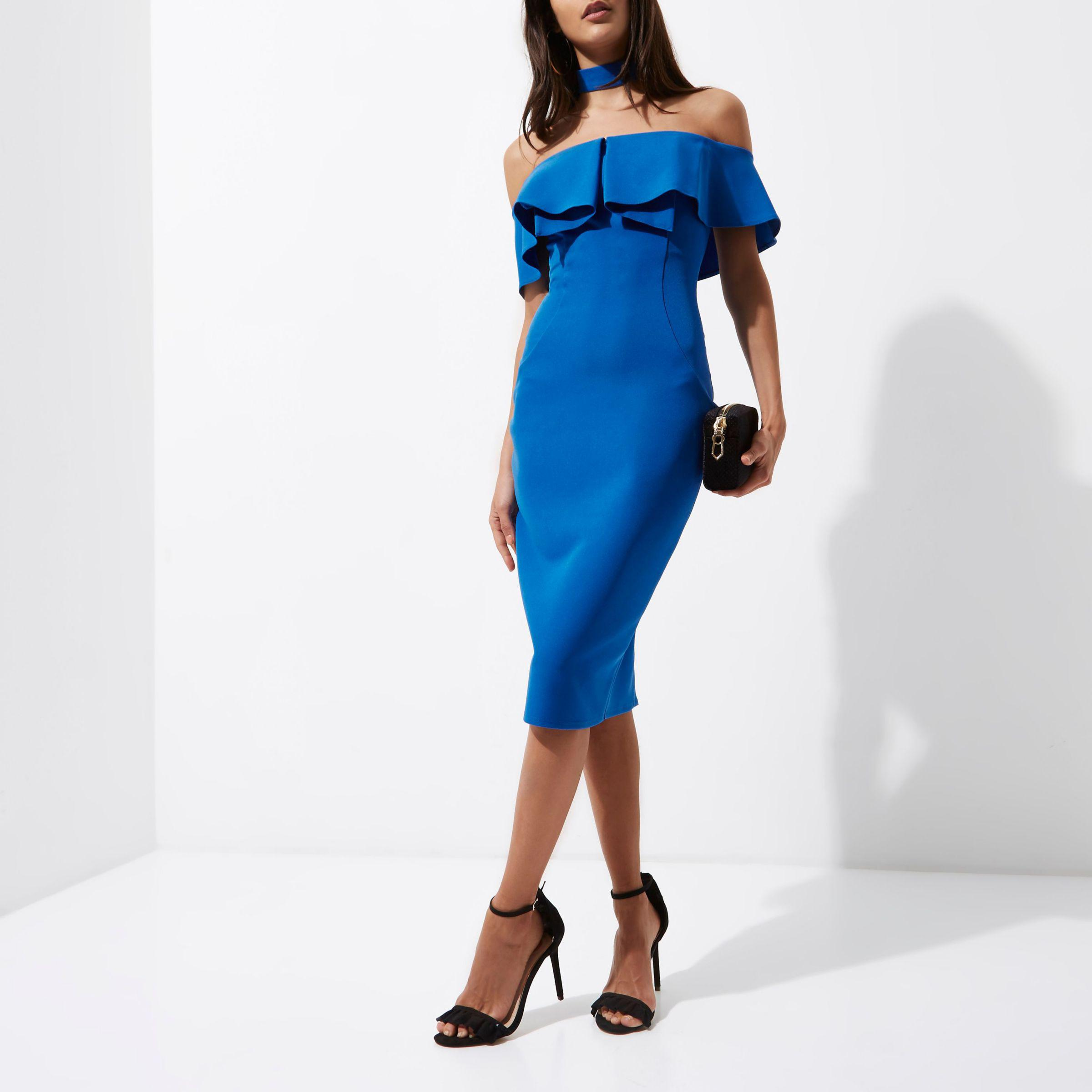 941c44e9da16 River Island Blue Choker Bardot Bodycon Midi Dress in Blue - Lyst