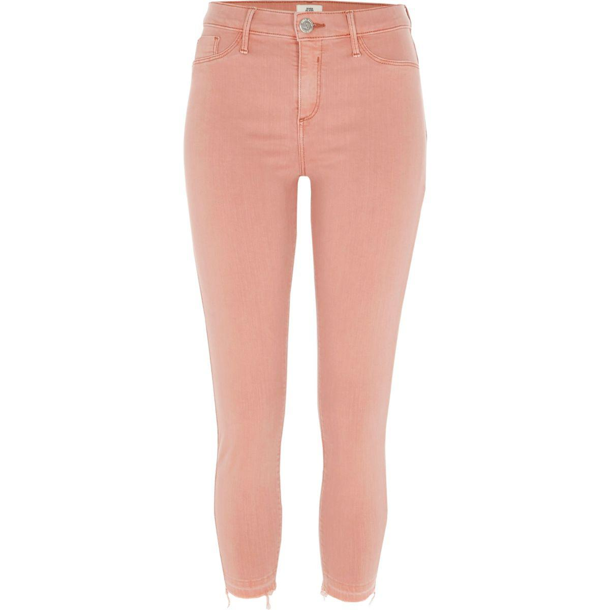 Womens Petite Pink Molly raw hem jeggings River Island