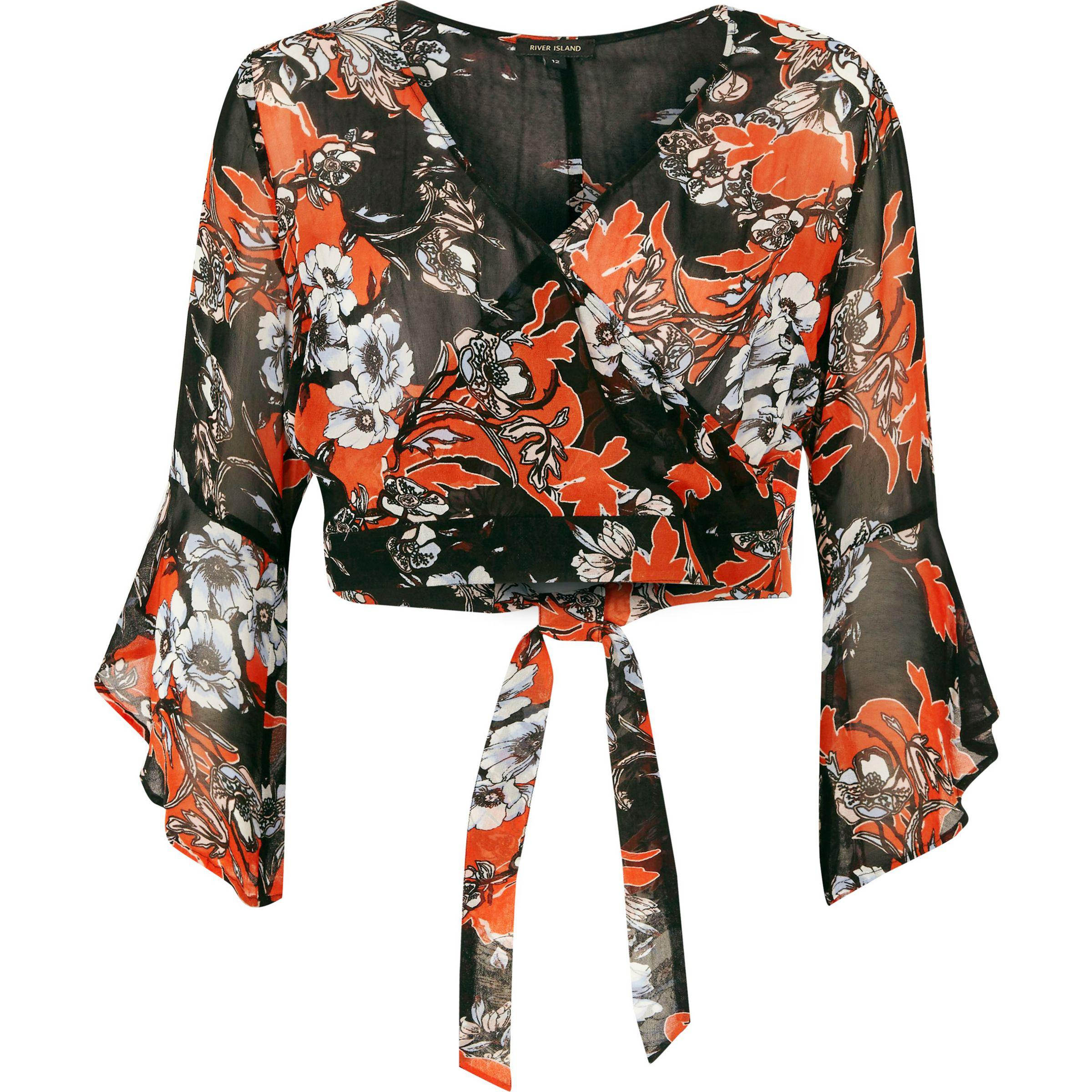 26251b8cf654c Lyst - River Island Black Floral Print Bell Sleeve Wrap Crop Top in ...