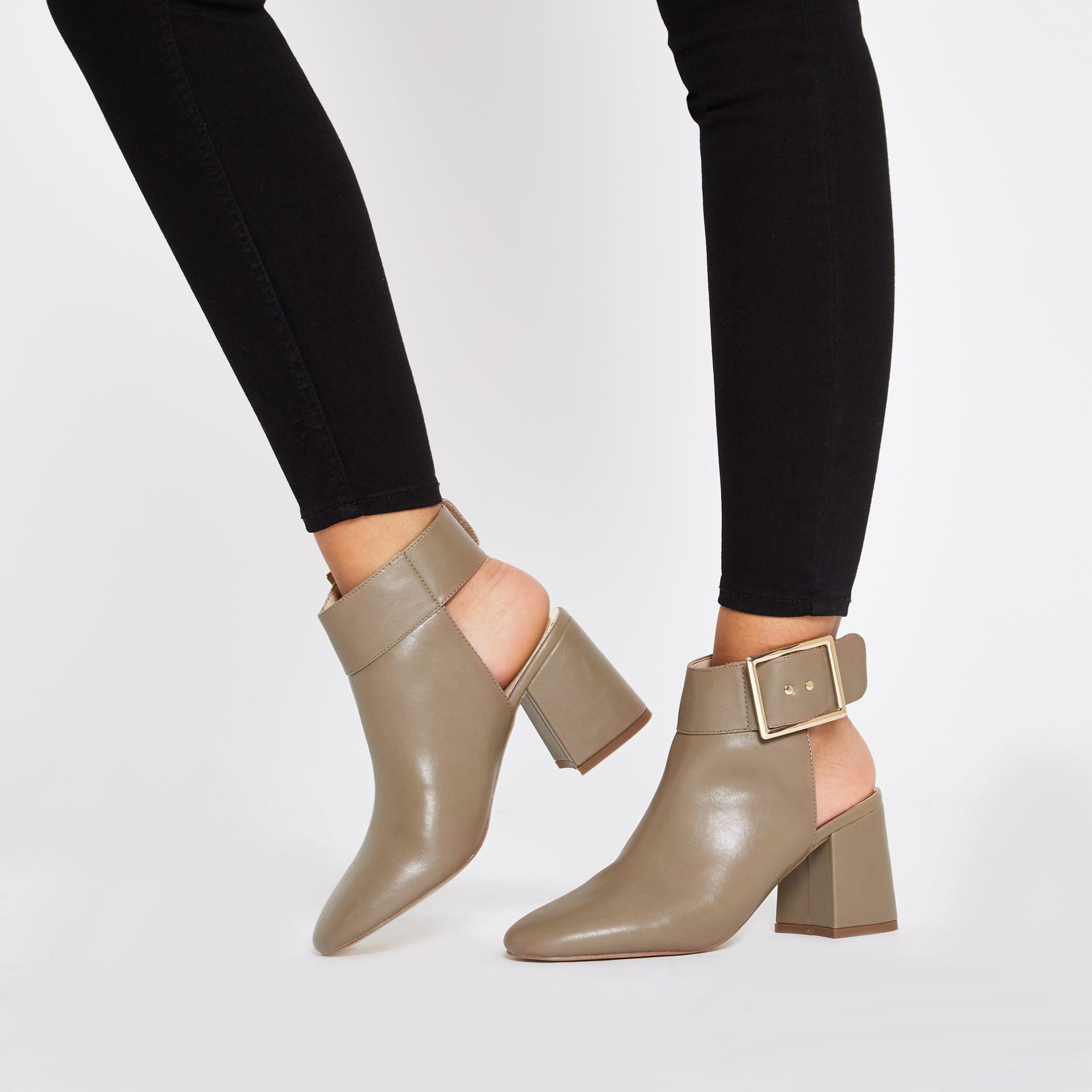 c524317a0cc2f River Island Open Back Shoe Boots in Gray - Lyst