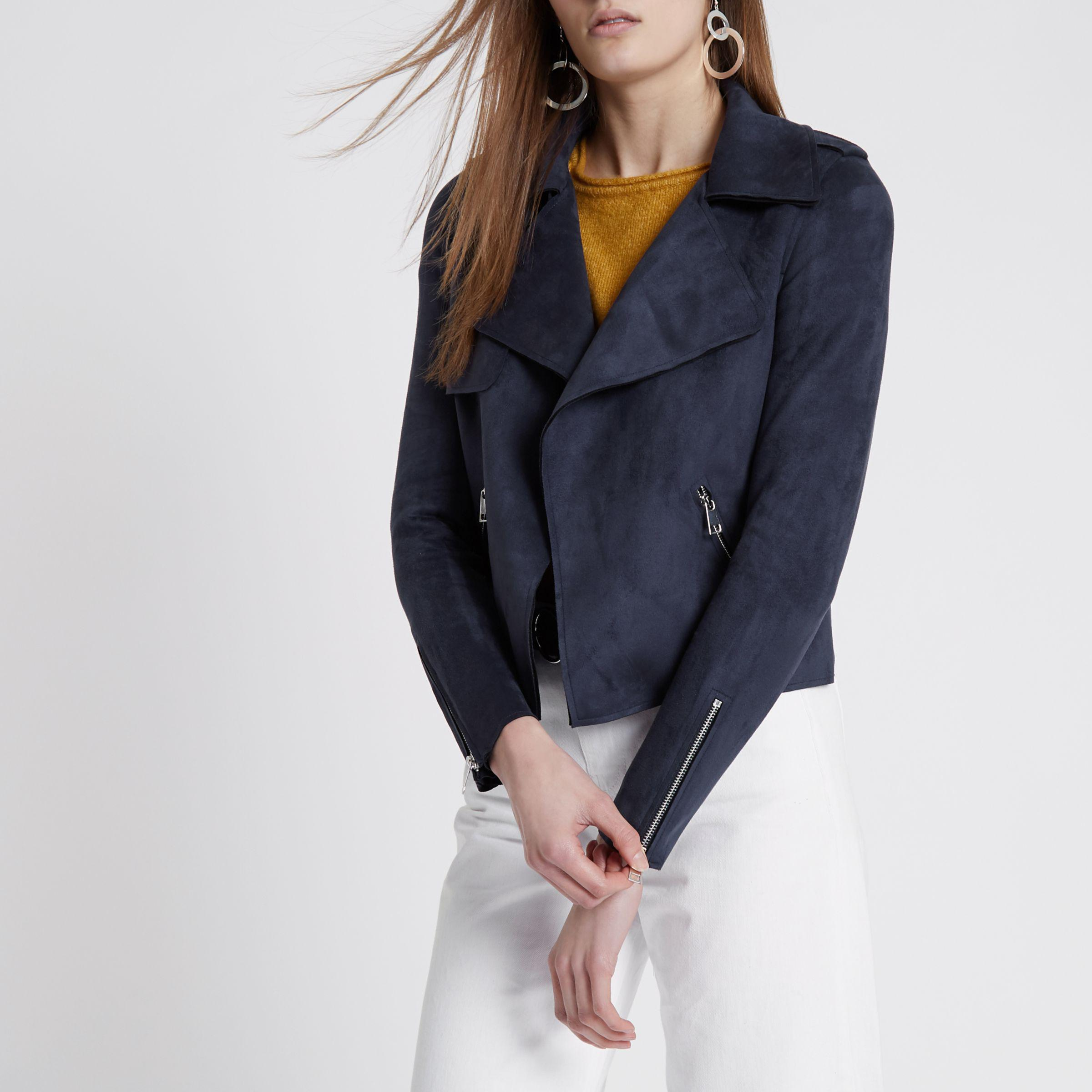 In Trench Navy Faux Lyst Jacket Blue Island River Suede Cropped wq8WAvxY