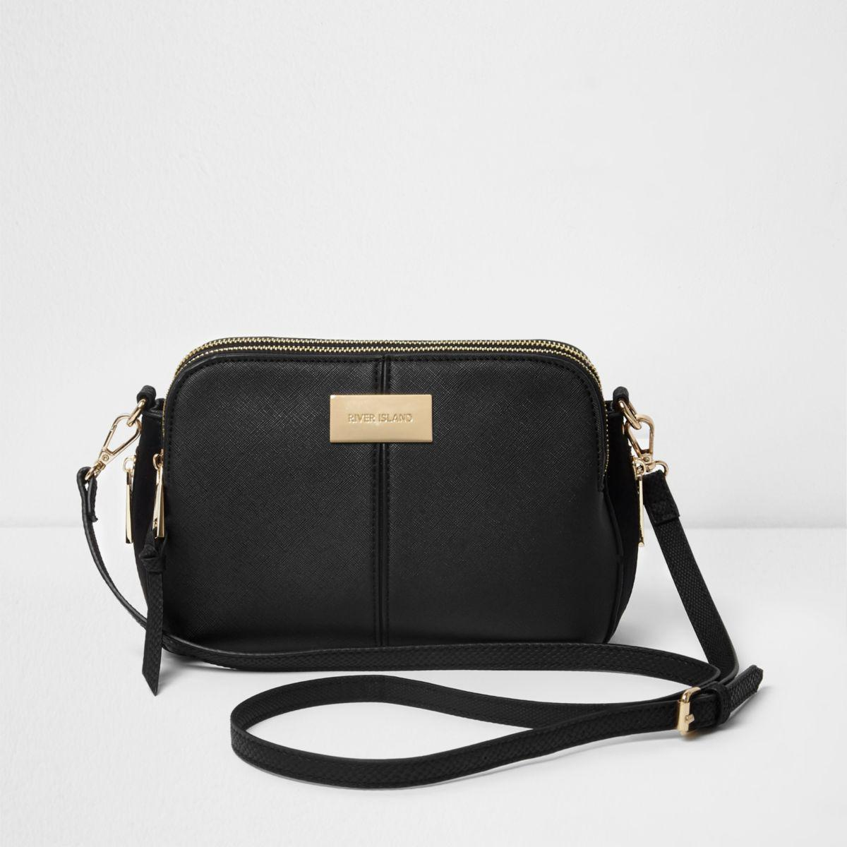 4bbae5ab0c62 Lyst - River Island Black Triple Compartment Cross Body Bag in Black