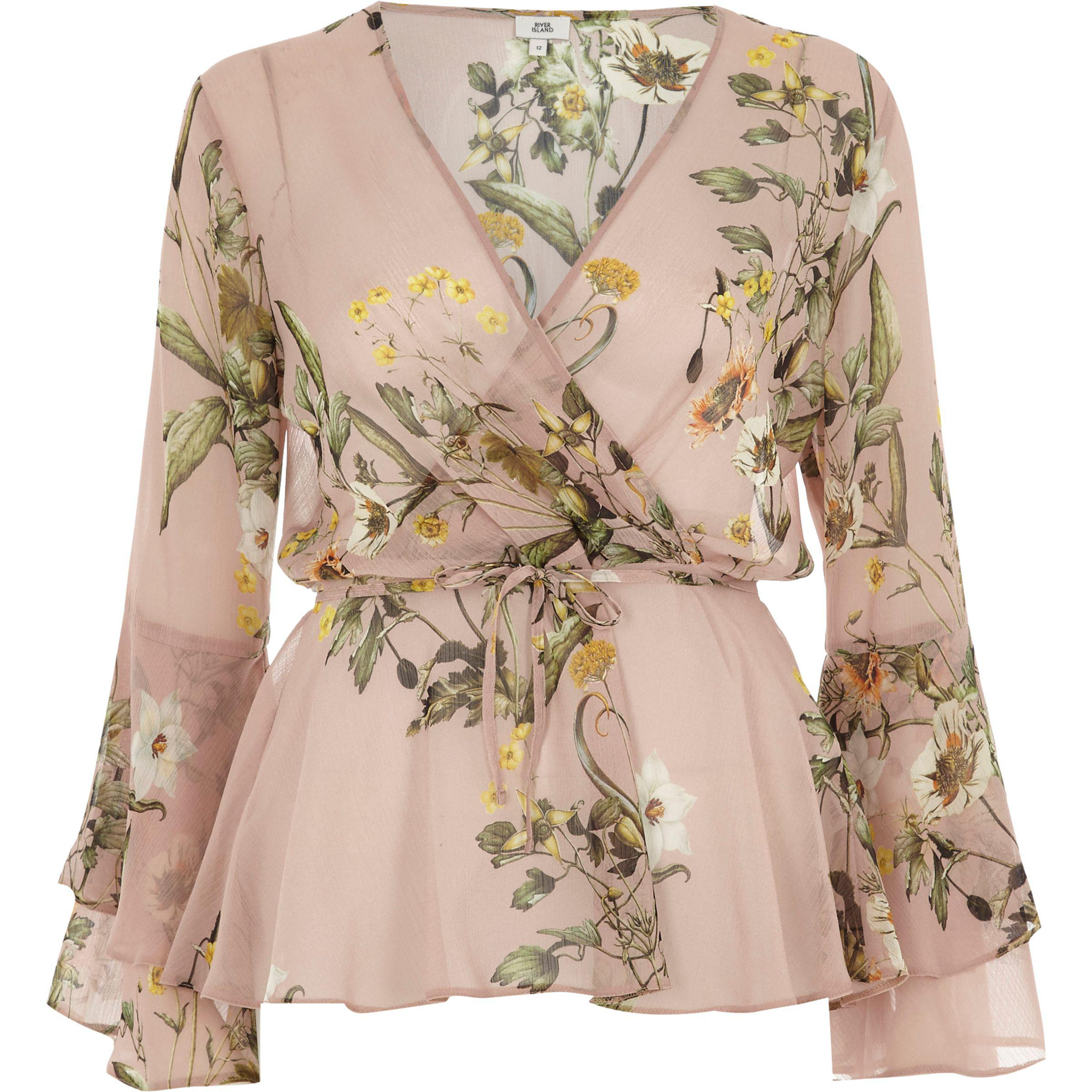 345467aca4e685 River Island Pink Floral Wrap Frill Sleeve Blouse in Pink - Lyst