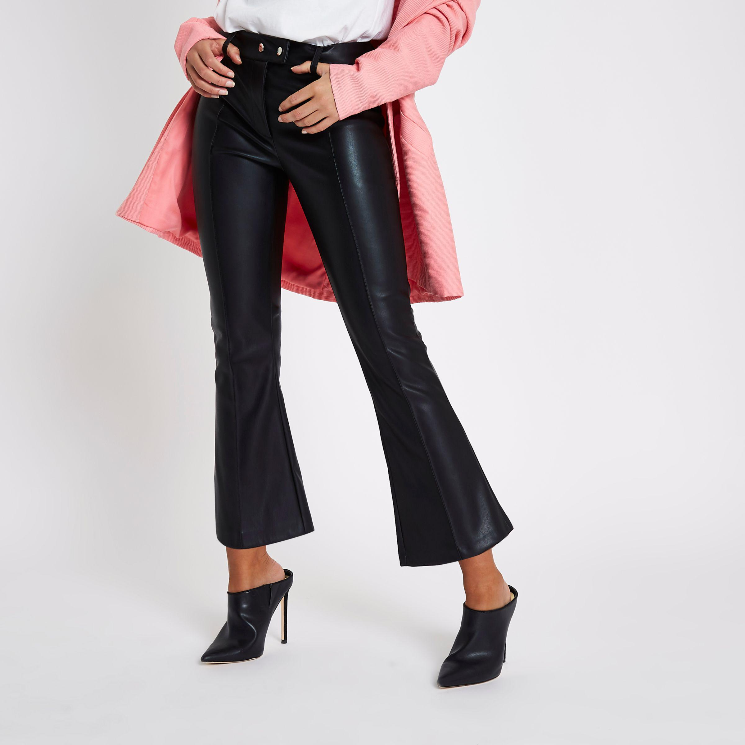 River Island Black Faux Leather Kick Flare Trousers   Lyst