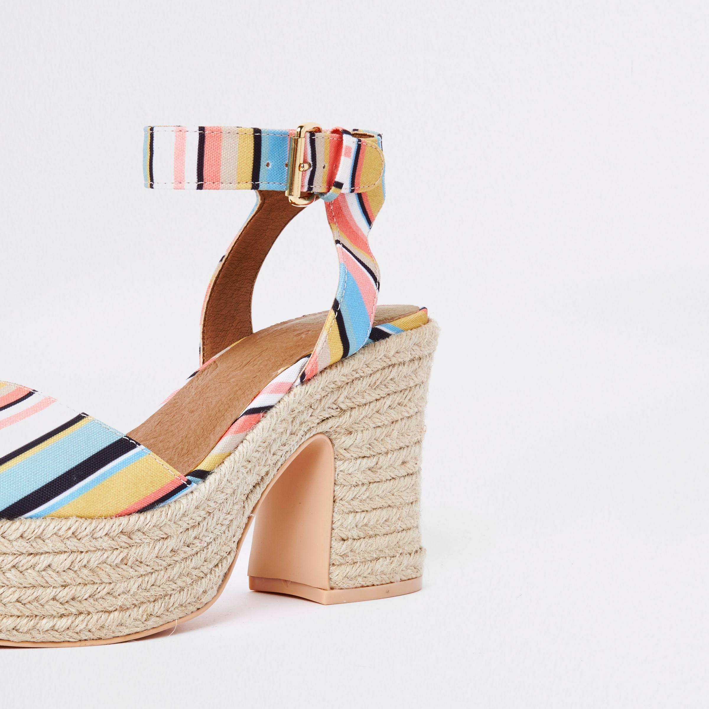 River Island Womens stripe Caroline Flack block heel sandal dglNPStG