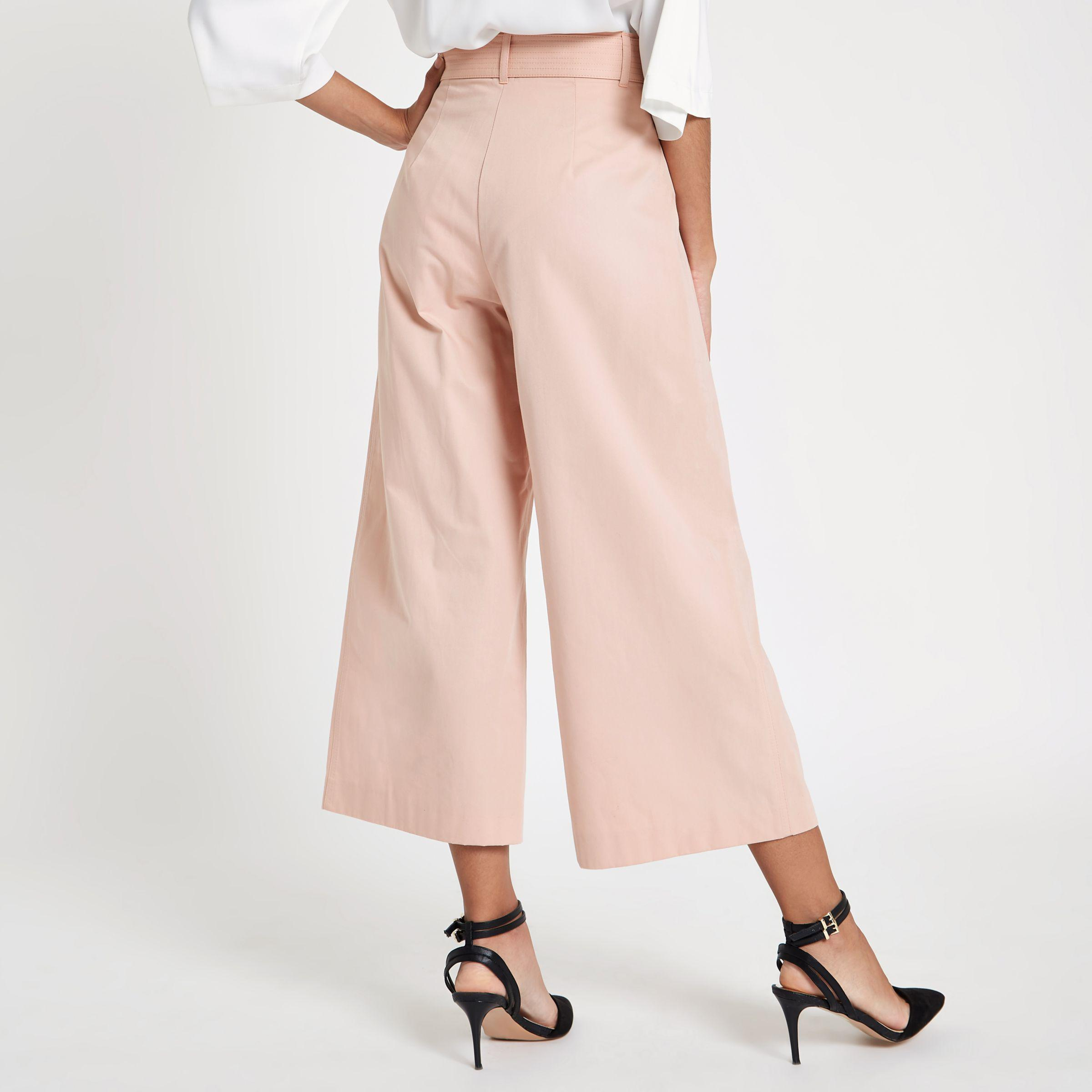 Cheap Sale Many Kinds Of Deals Cheap Online Womens Light Pink contrast stitch belted culott River Island Free Shipping Professional dKirf6E85