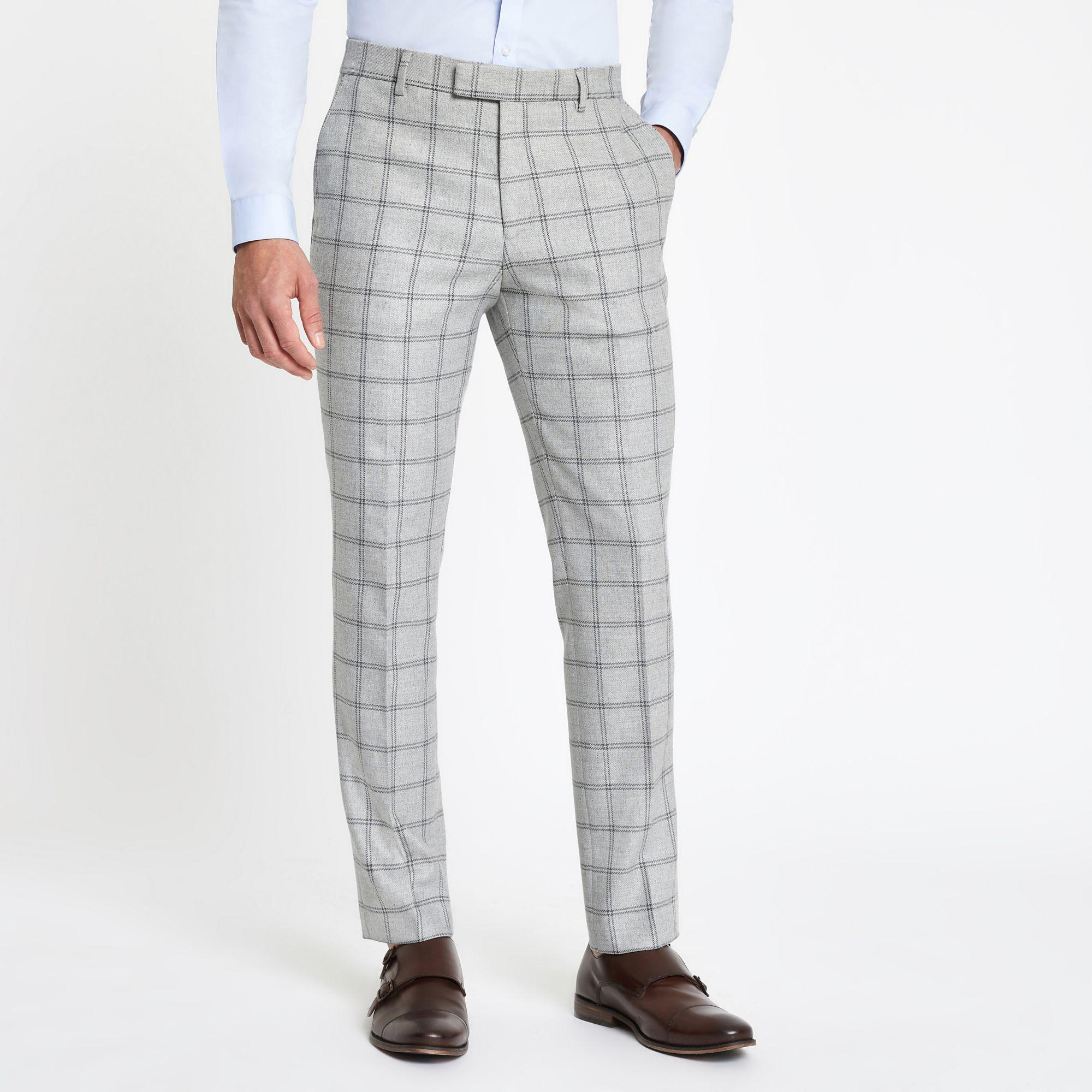 River Island Synthetic Grey Check Stretch Skinny Fit Suit Trousers in Grey for Men