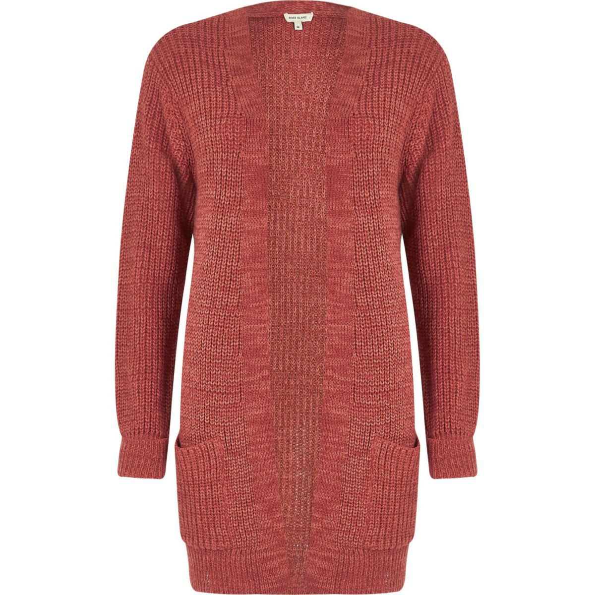 River island Pink Longline Oversized Knit Cardigan in Pink   Lyst