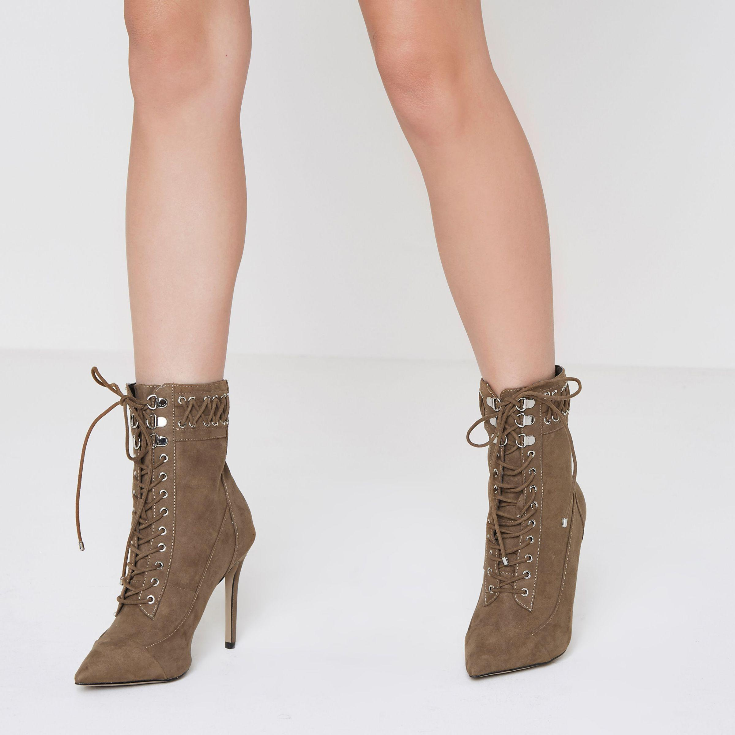 River Island Beige Pointed Lace-up Heeled Boots in Cream (Natural)