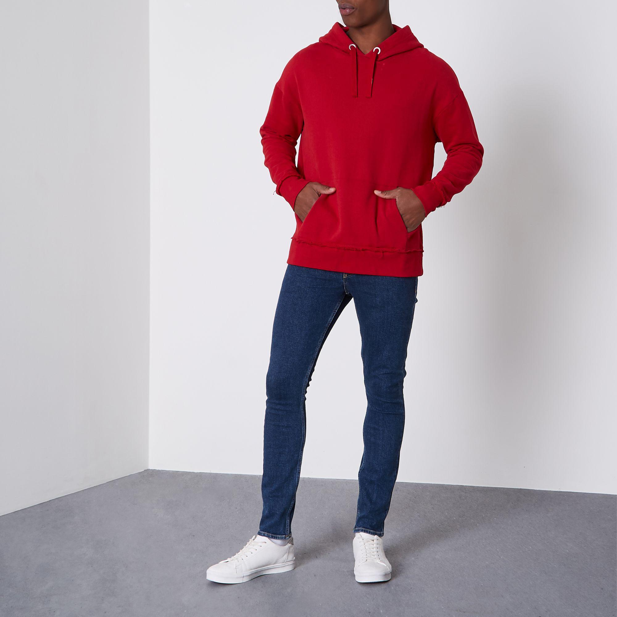 River Island Denim Dark Wash Sid Skinny Jeans in Blue for Men