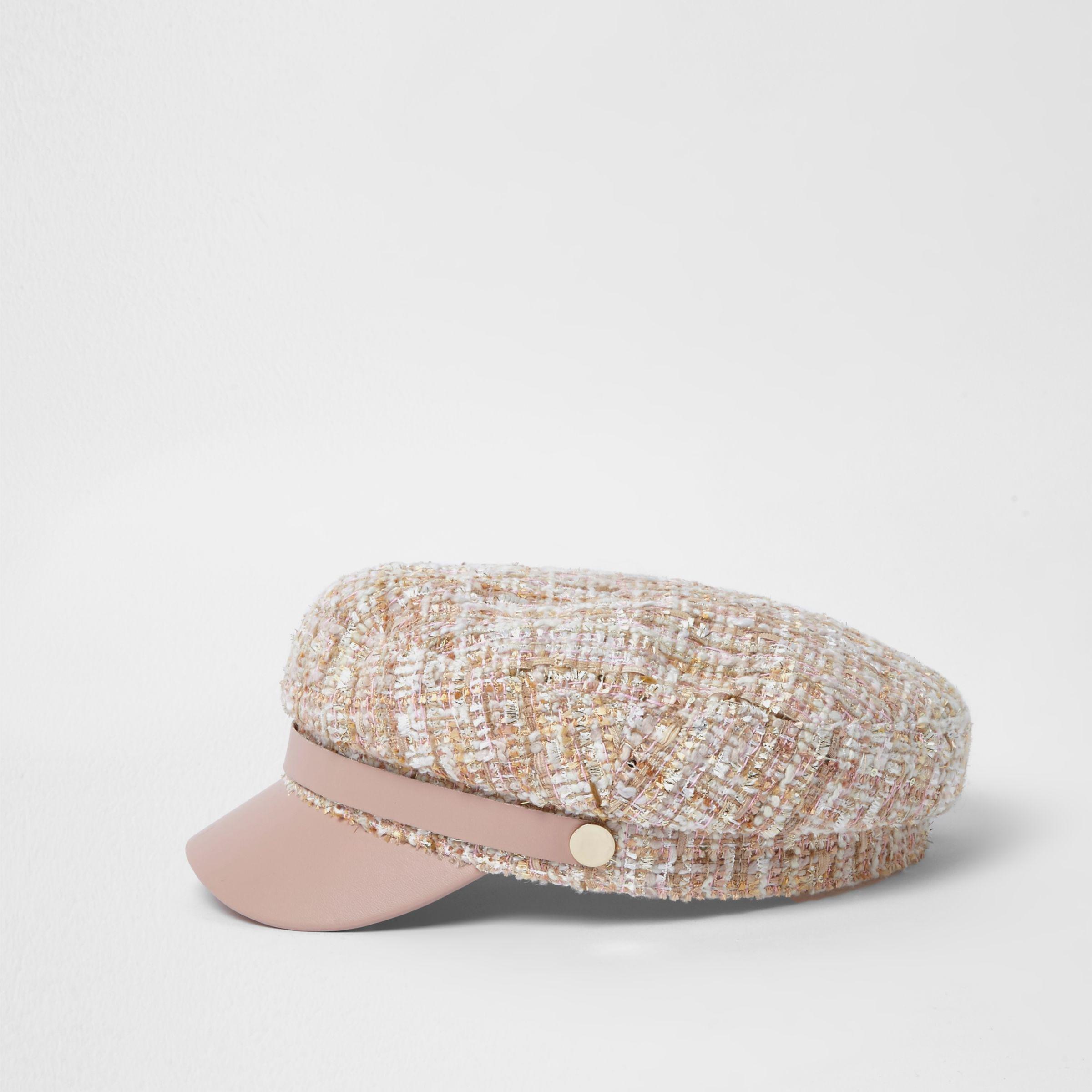 7fa386ee River Island Light Pink Boucle Knit Baker Boy Hat Light Pink Boucle ...