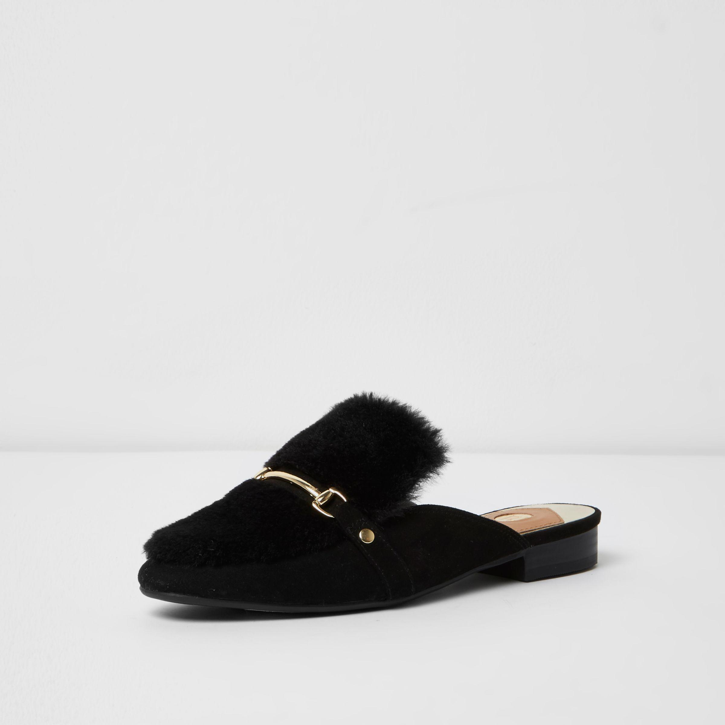 ab7eccb92e7 Lyst - River Island Black Fur Snaffle Backless Loafers in Black