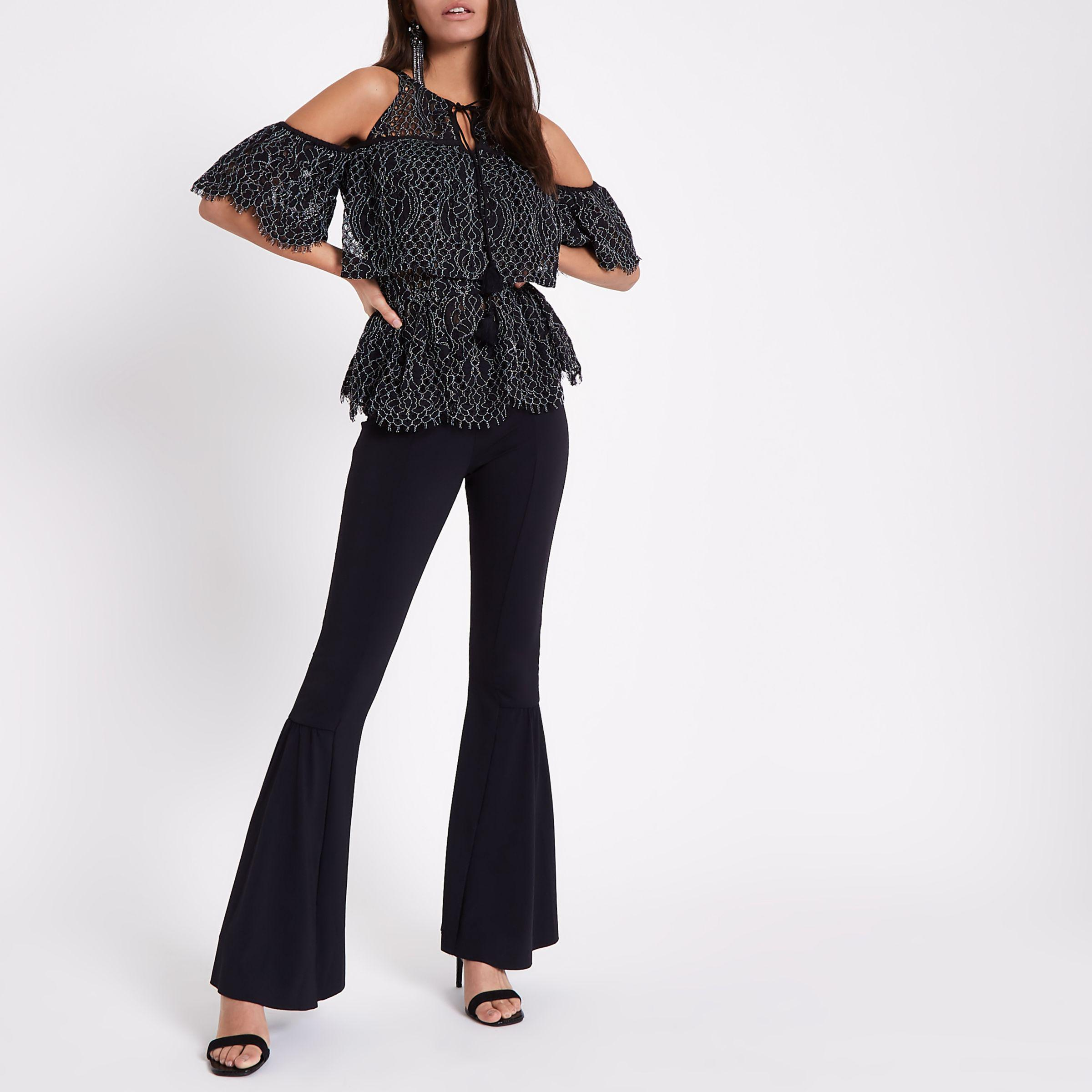 1a384c257437b Lyst - River Island Lace Frill Cold Shoulder Top in Black
