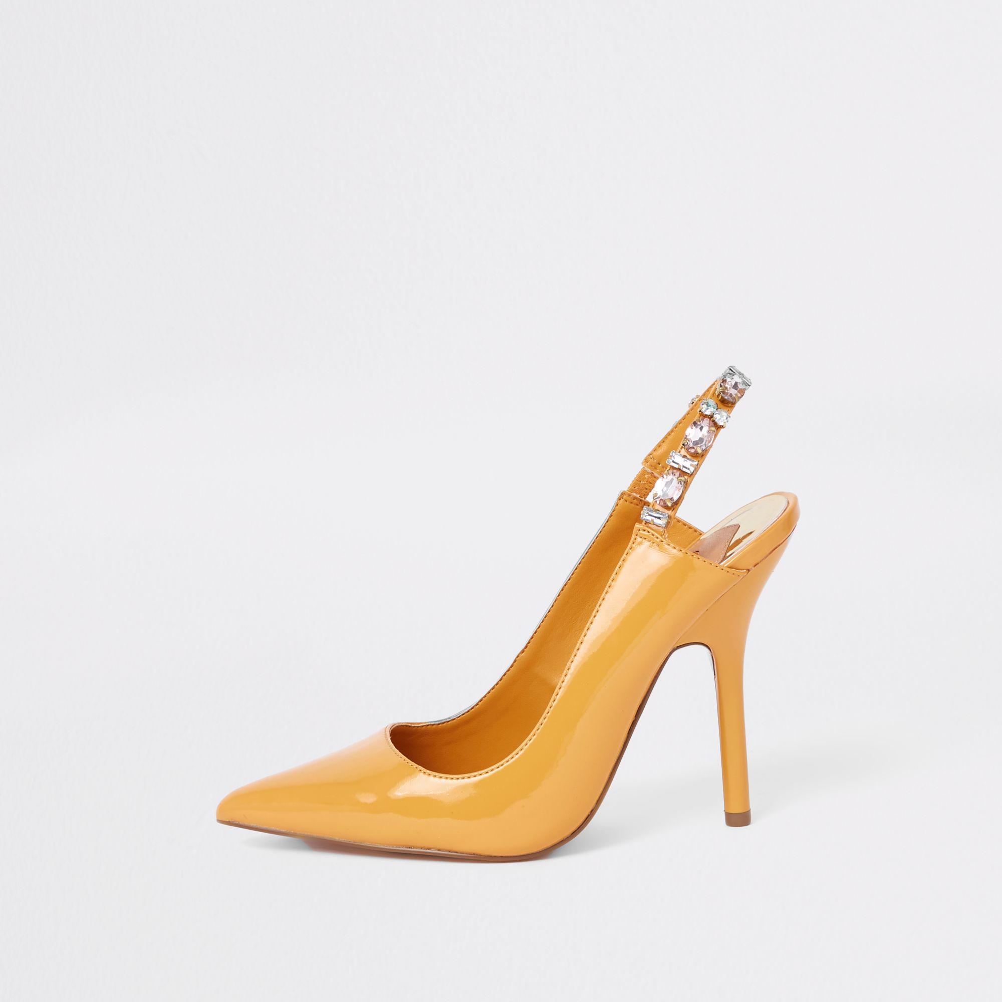 b5e3b1e0694 River Island Yellow Jewel Embellished Court Shoes